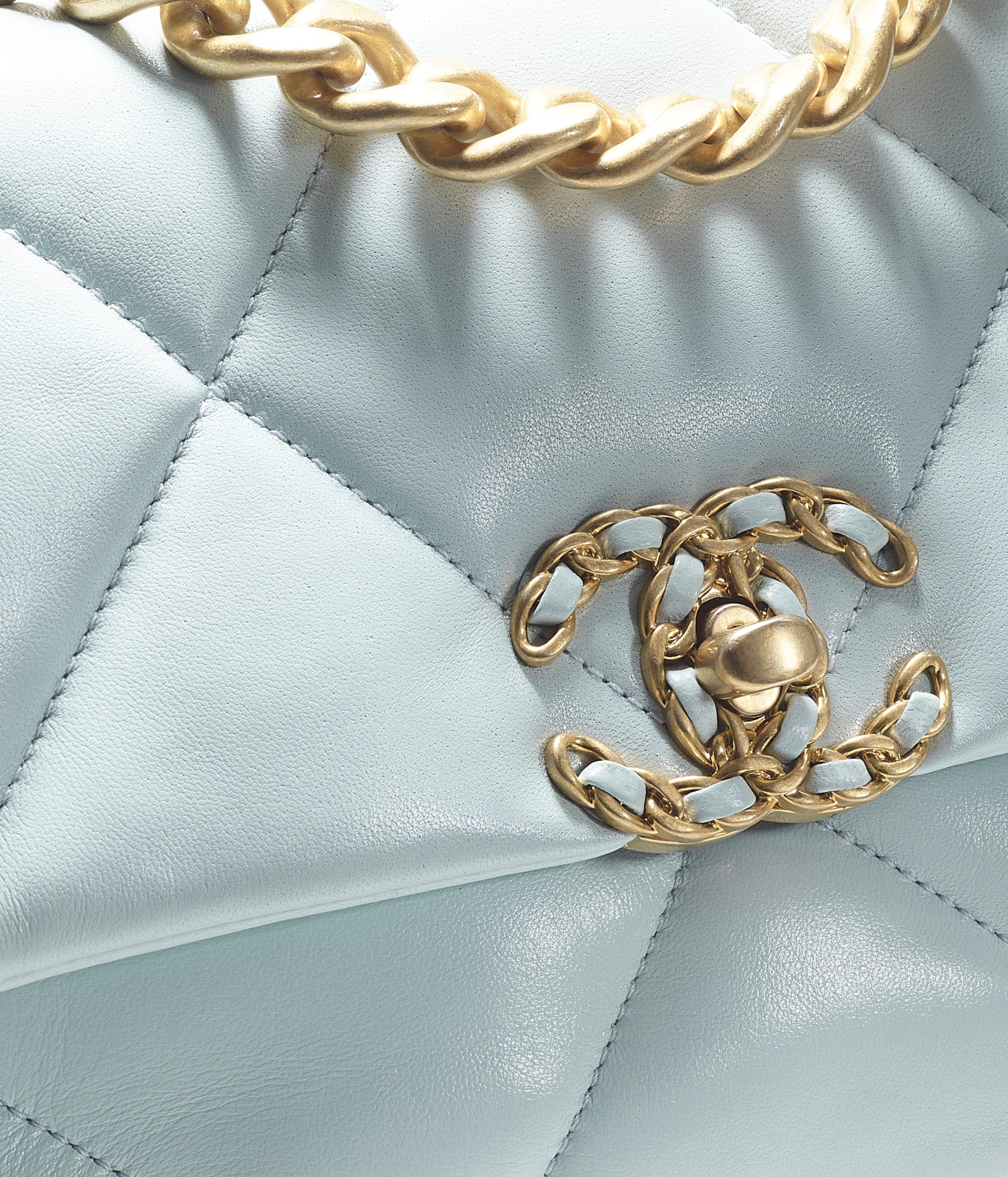 image 4 - CHANEL 19 Handbag - Lambskin, Gold-Tone, Silver-Tone & Ruthenium-Finish Metal - Light Blue