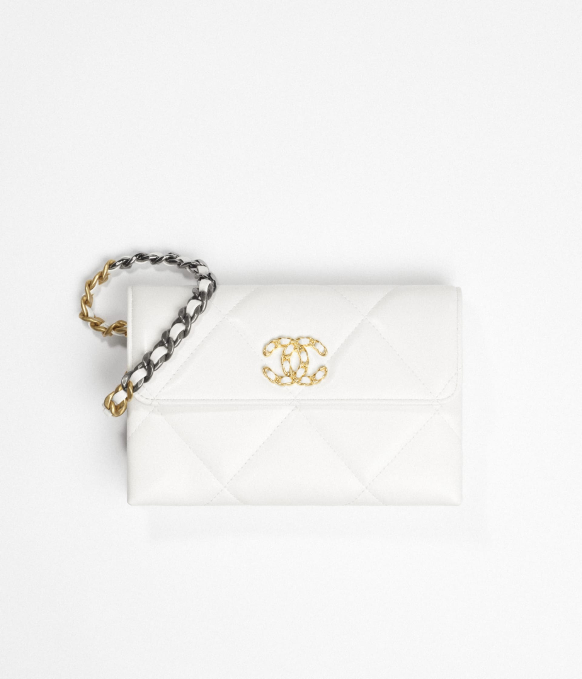 image 1 - CHANEL 19 Pouch with Handle - Lambskin, Gold-Tone, Silver-Tone & Ruthenium-Finish Metal - White