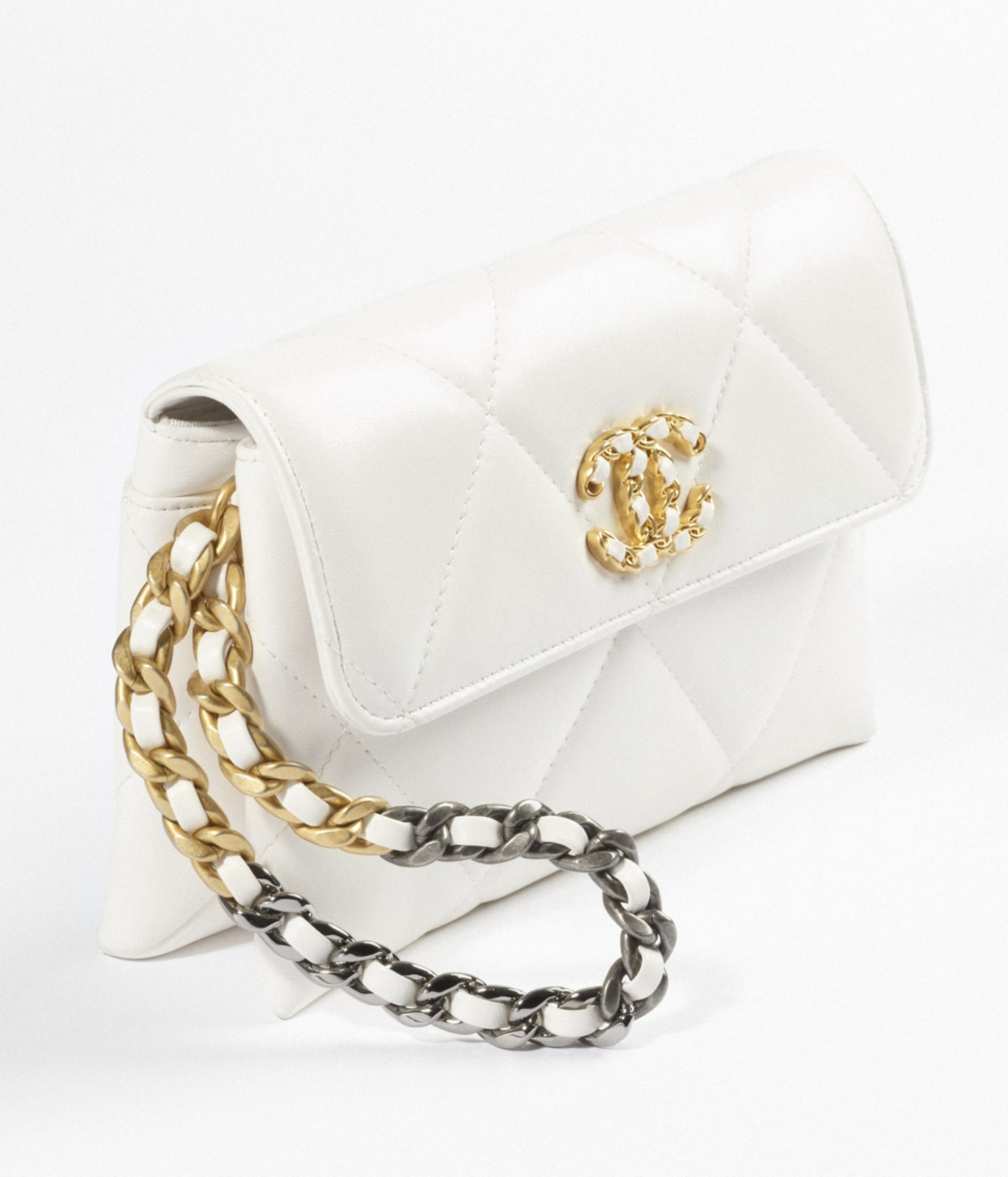 image 3 - CHANEL 19 Pouch with Handle - Lambskin, Gold-Tone, Silver-Tone & Ruthenium-Finish Metal - White