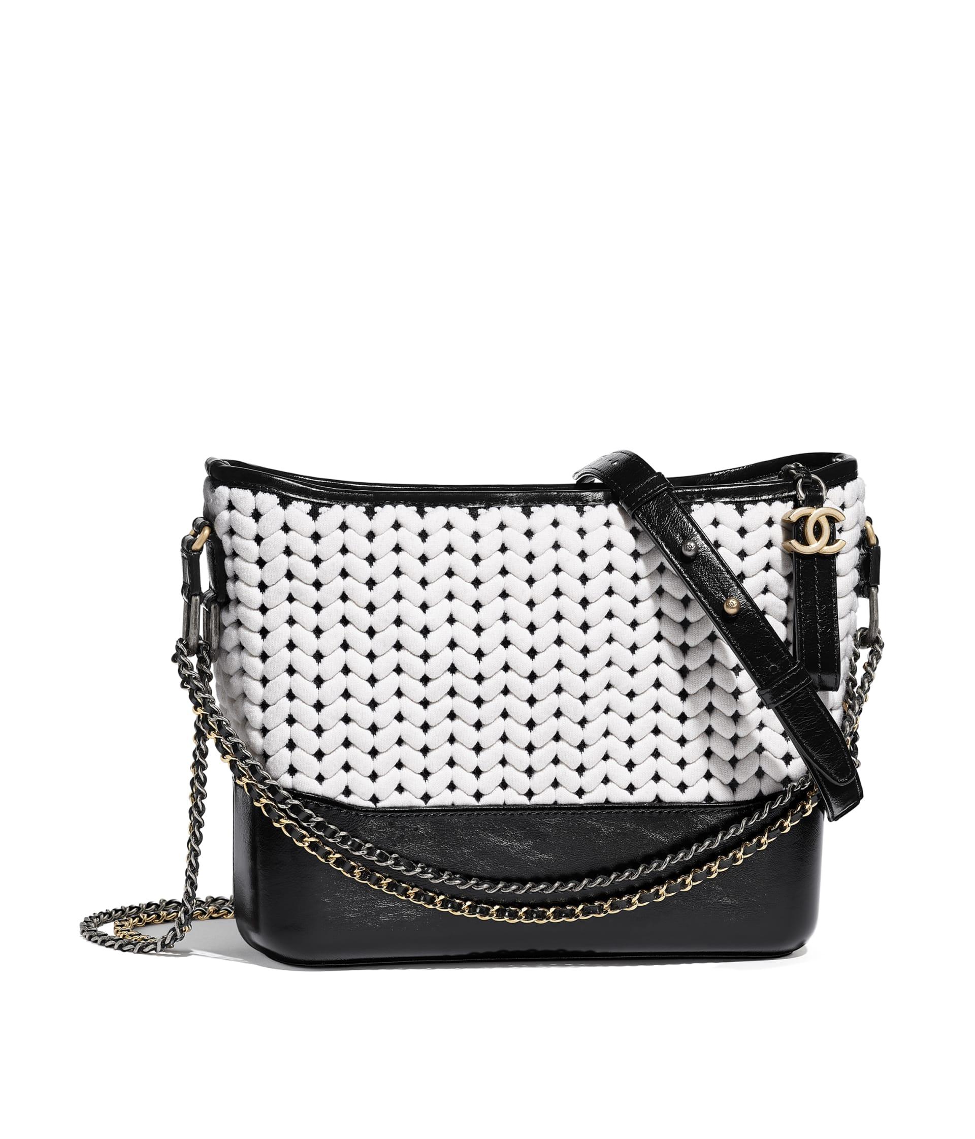 image 1 - CHANEL'S GABRIELLE  Large Hobo Bag - Wool, Calfskin, Gold-Tone & Silver-Tone Metal - White & Black