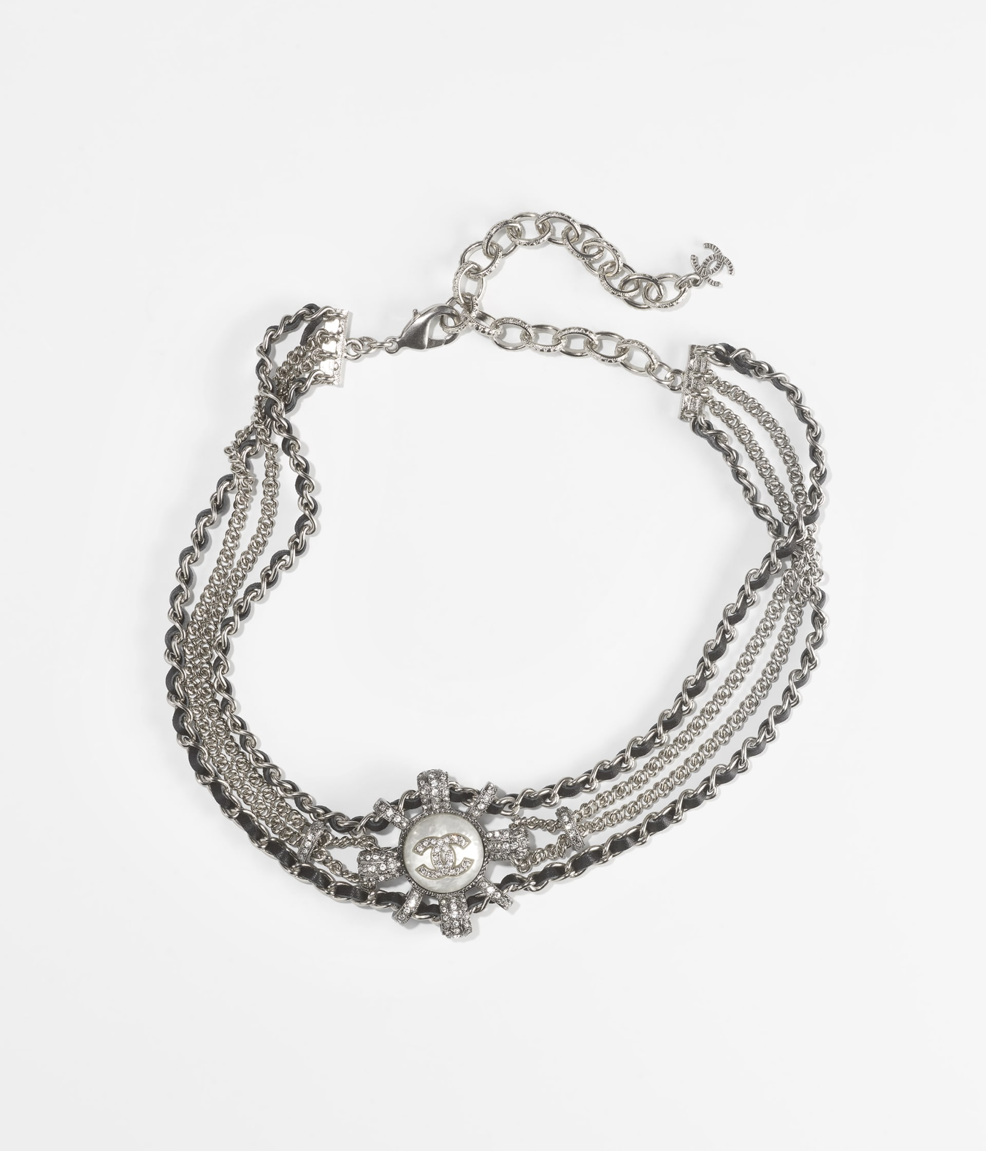 image 1 - Choker - Metal, Calfskin, Imitation Pearls & Strass - Silver, Ruthenium, Black, Pearly White & Crystal