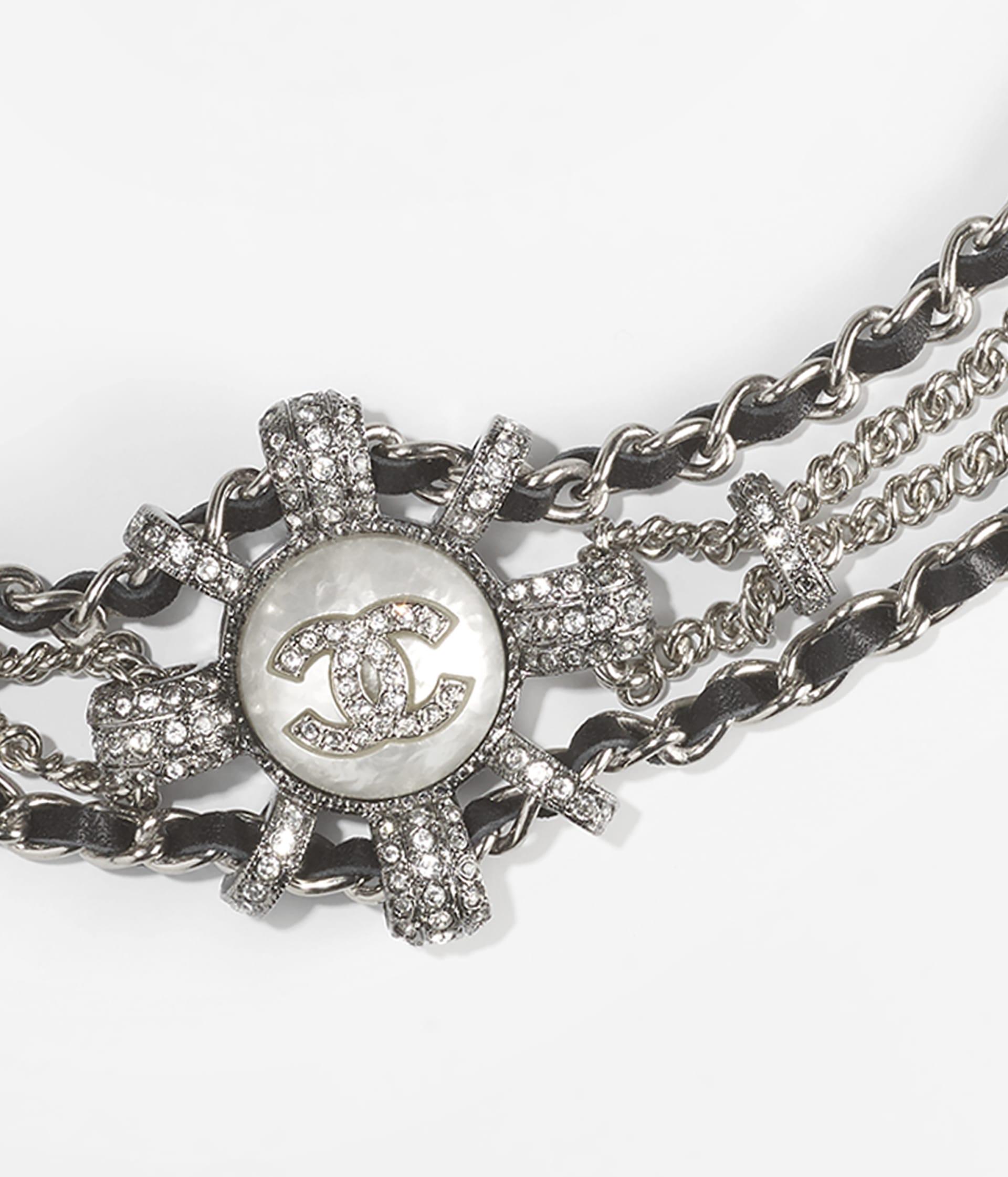 image 3 - Choker - Metal, Calfskin, Imitation Pearls & Strass - Silver, Ruthenium, Black, Pearly White & Crystal