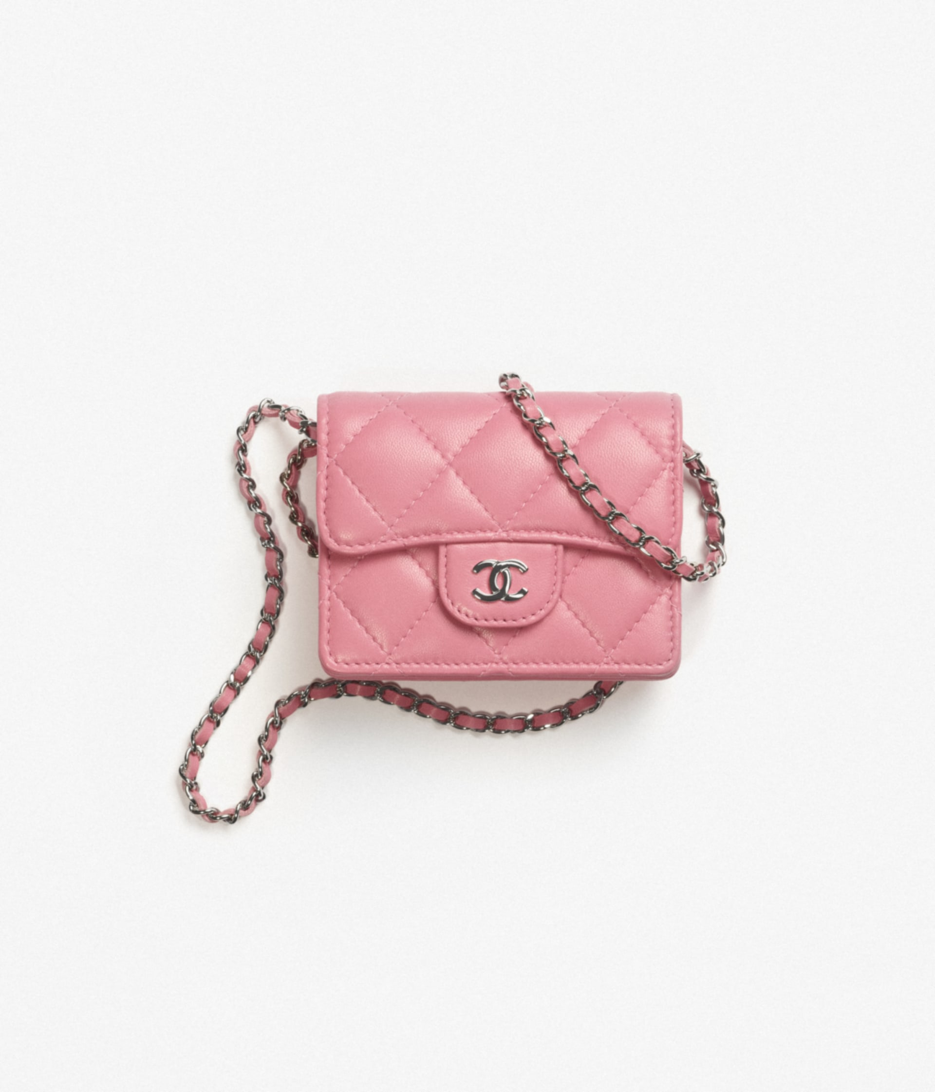image 1 - Classic Flap Card Holder with Chain - Lambskin & Silver-Tone Metal - Light Pink