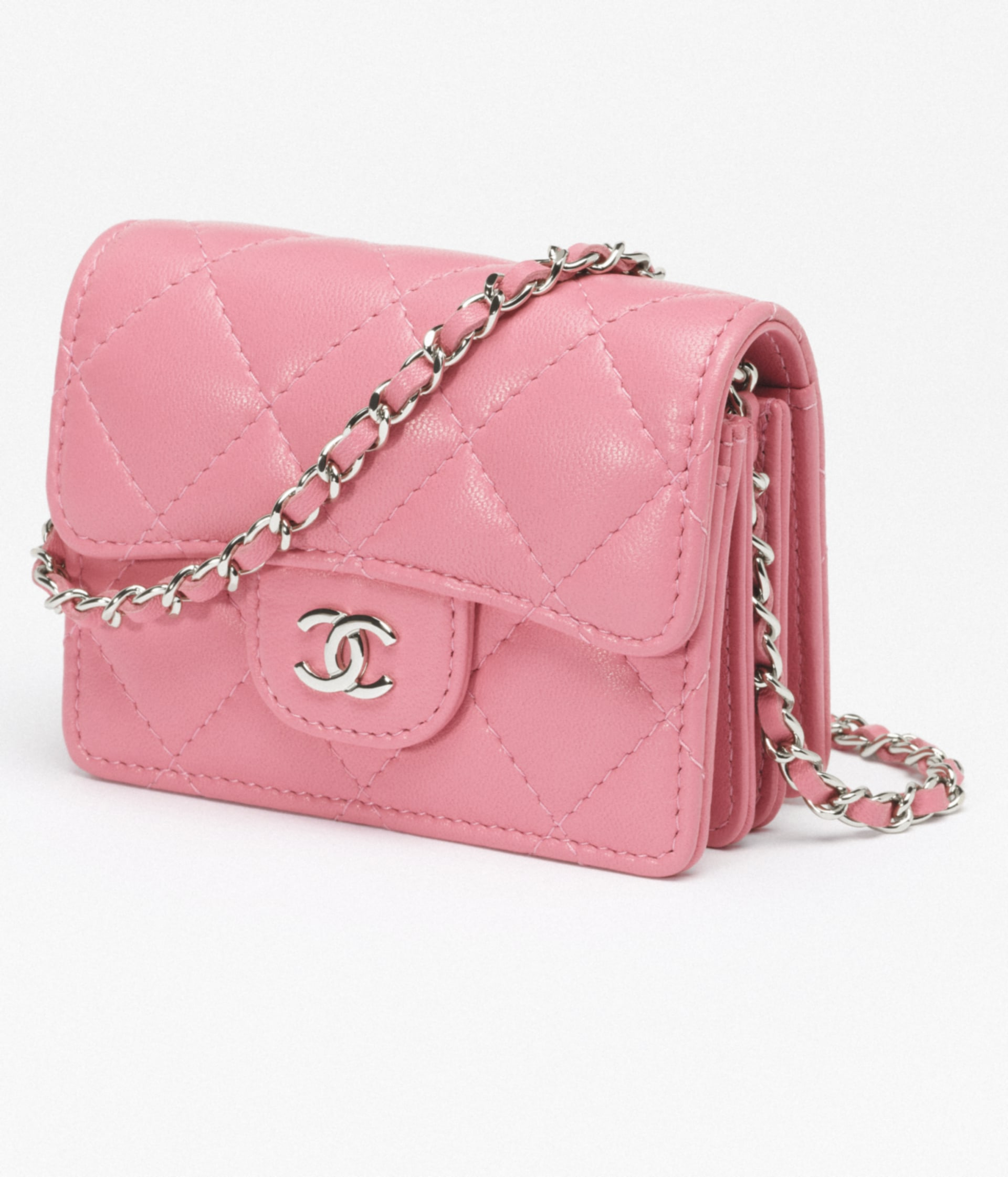 image 4 - Classic Flap Card Holder with Chain - Lambskin & Silver-Tone Metal - Light Pink