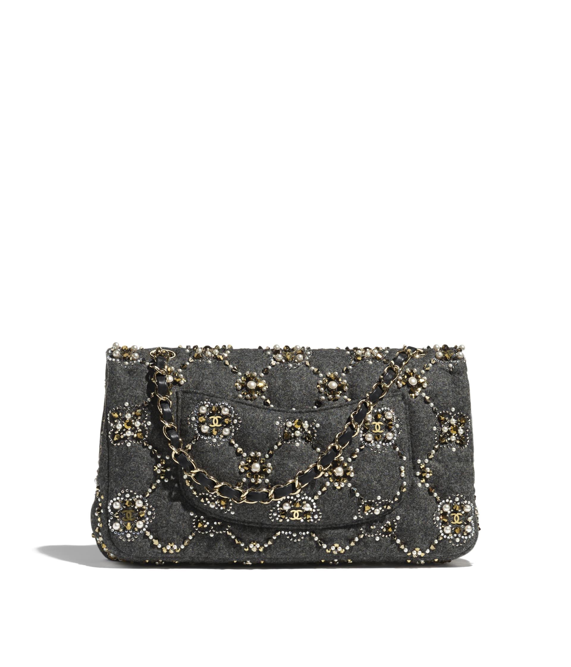 image 2 - Classic Handbag - Wool, Glass Pearls, Crystal Pearls & Gold-Tone Metal - Gray