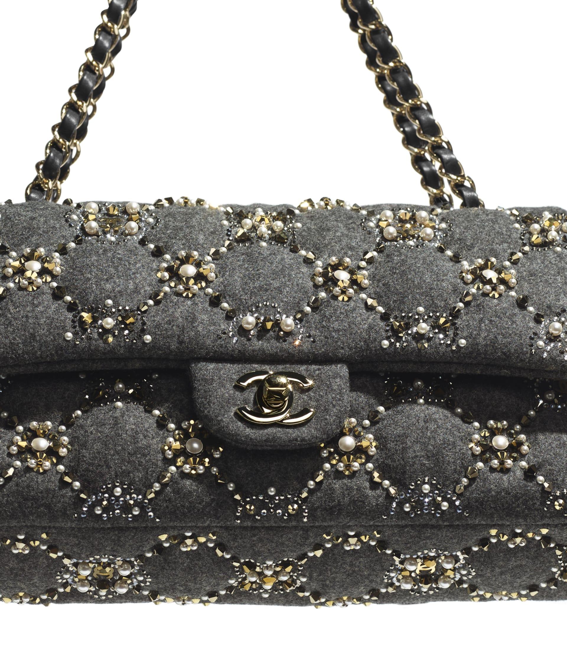 image 4 - Classic Handbag - Wool, Glass Pearls, Crystal Pearls & Gold-Tone Metal - Gray