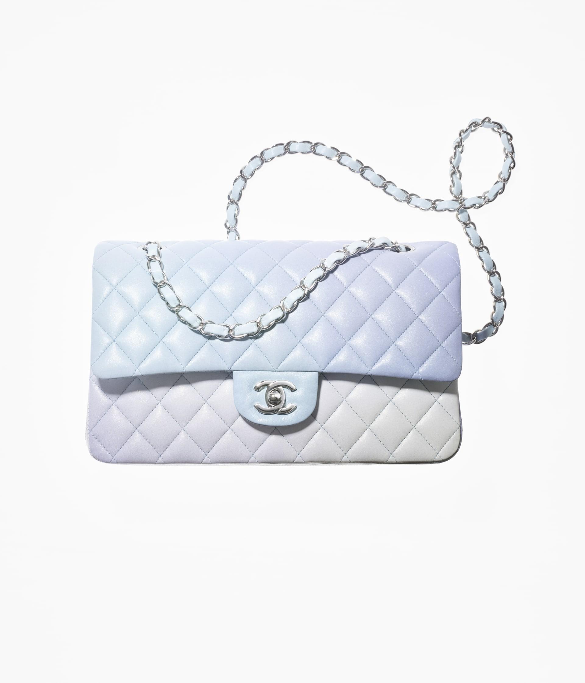 image 1 - Classic Handbag - Perforated Lambskin & Silver-Tone Metal - Light Blue, Light Purple & White