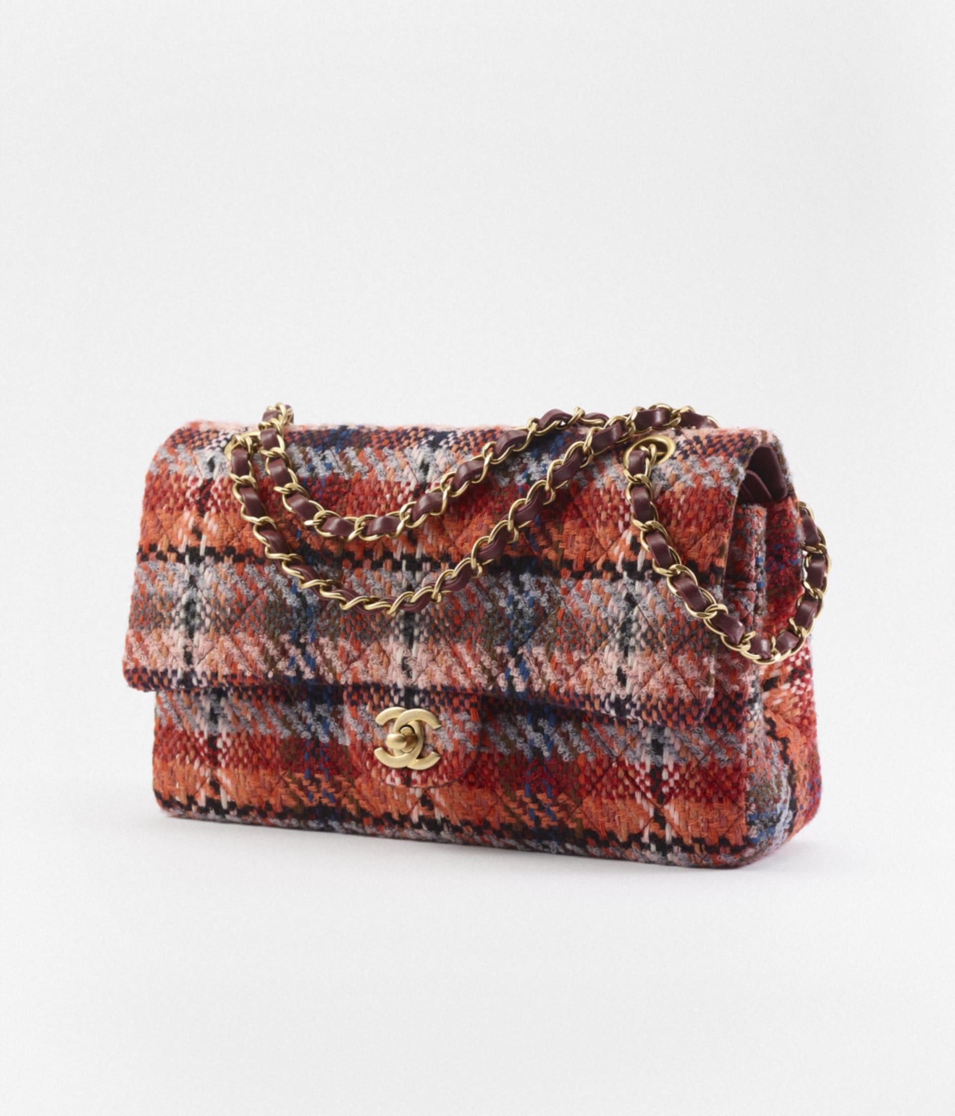 image 2 - Classic Handbag - Tweed & Gold-Tone Metal - Multicolor