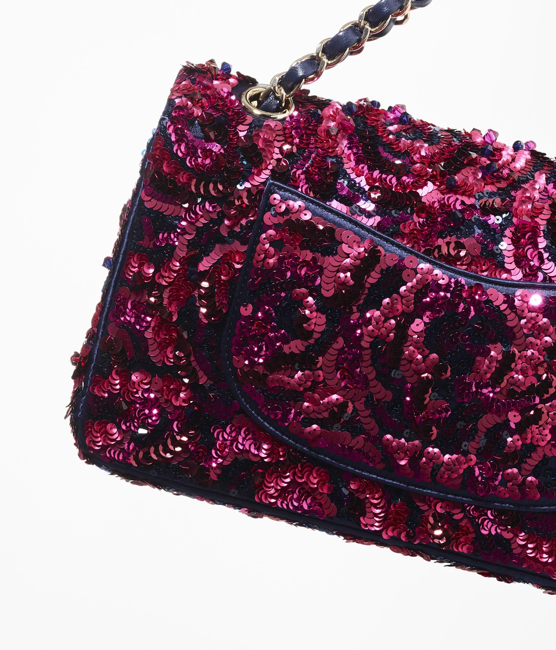 image 4 - Classic Handbag - Embroidered Satin, Sequins & Gold-Tone Metal - Pink & Navy Blue