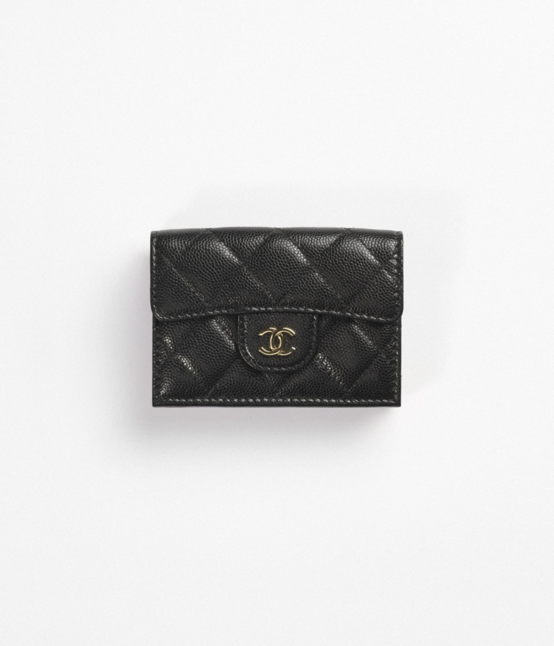 image 1 - Classic Small Flap Wallet - Grained Calfskin & Gold-Tone Metal - Black