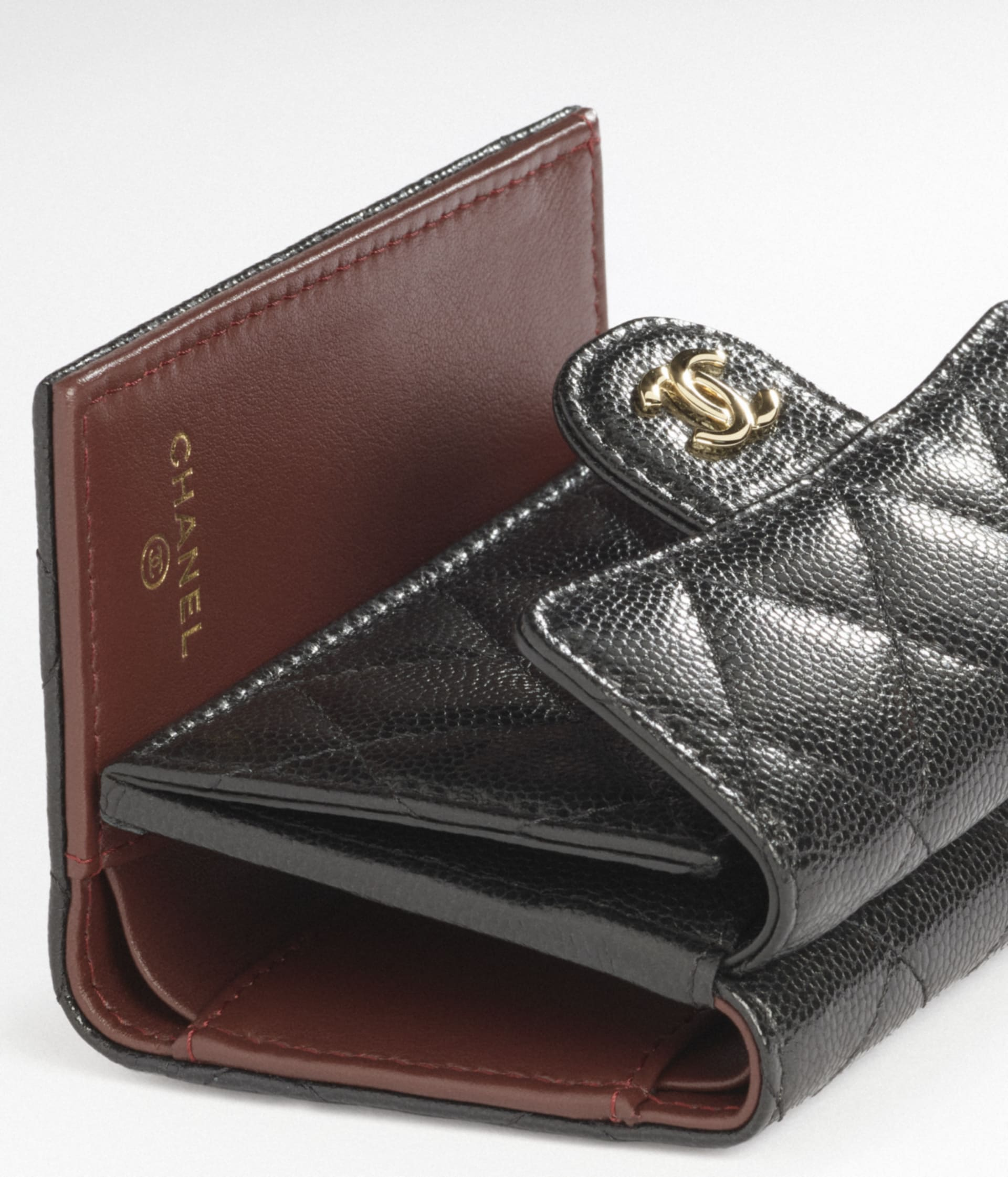 image 3 - Classic Small Flap Wallet - Grained Calfskin & Gold-Tone Metal - Black