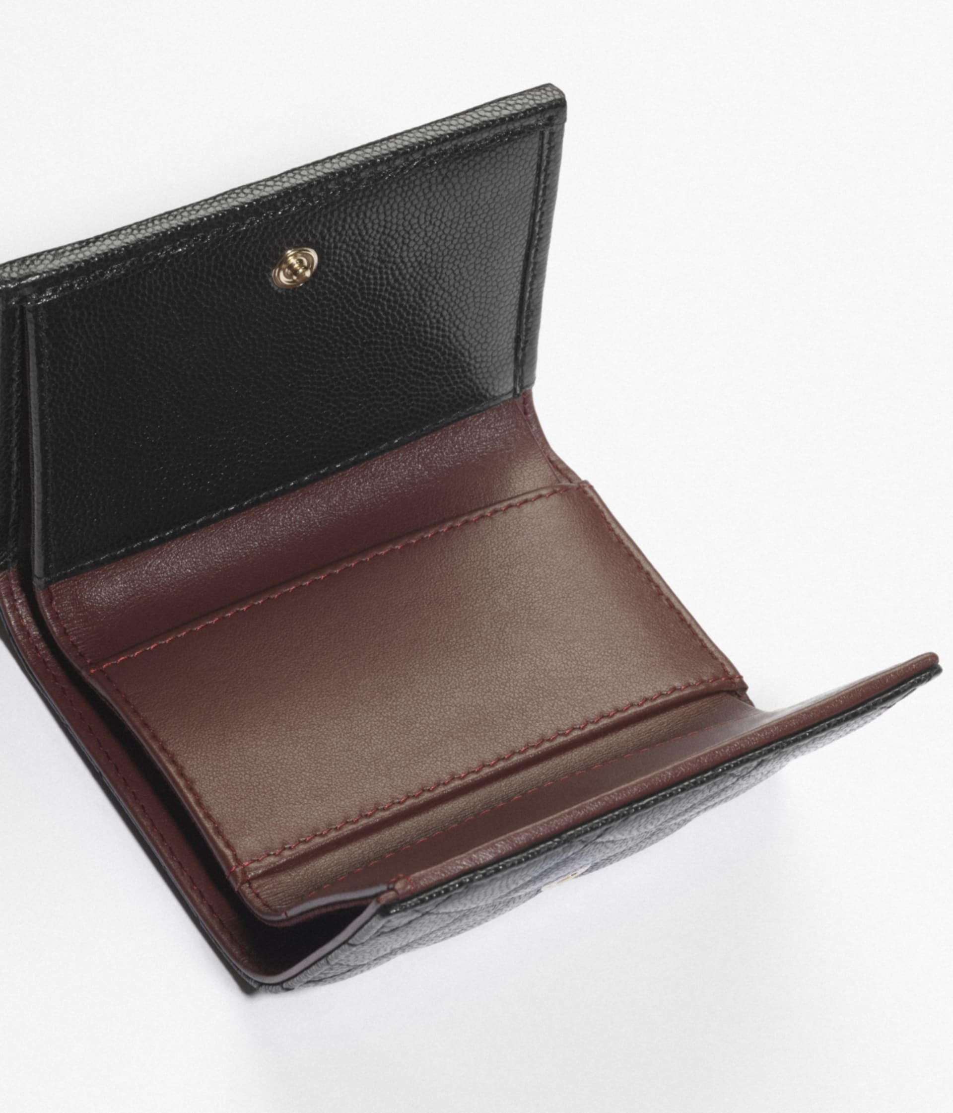 image 4 - Classic Small Flap Wallet - Grained Calfskin & Gold-Tone Metal - Black