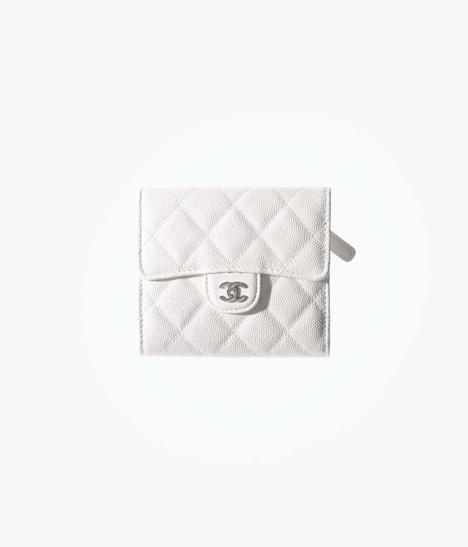 image 1 - Classic Small Flap Wallet - Grained Calfskin & Silver-Tone Metal - White