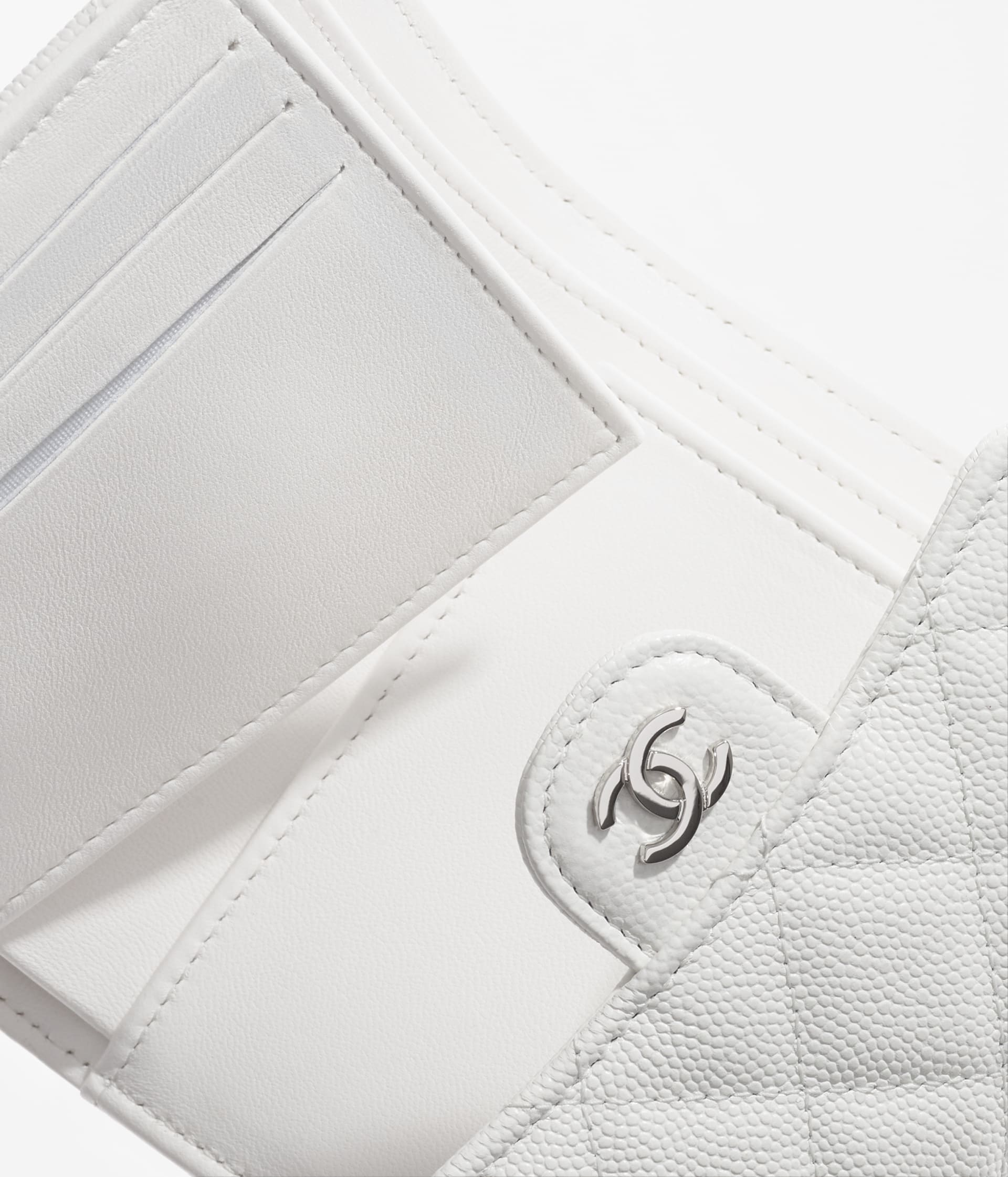 image 3 - Classic Small Flap Wallet - Grained Calfskin & Silver-Tone Metal - White