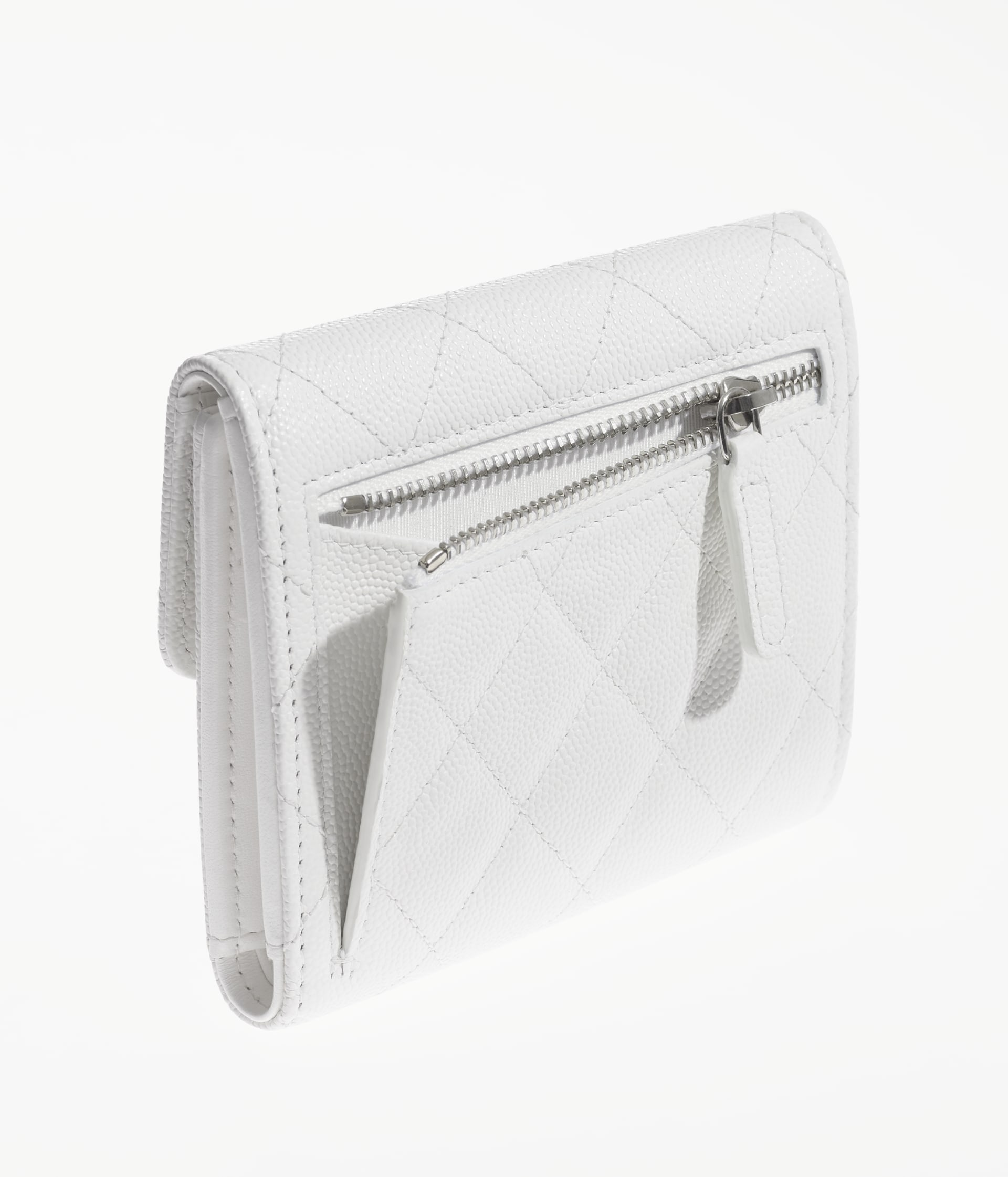 image 4 - Classic Small Flap Wallet - Grained Calfskin & Silver-Tone Metal - White