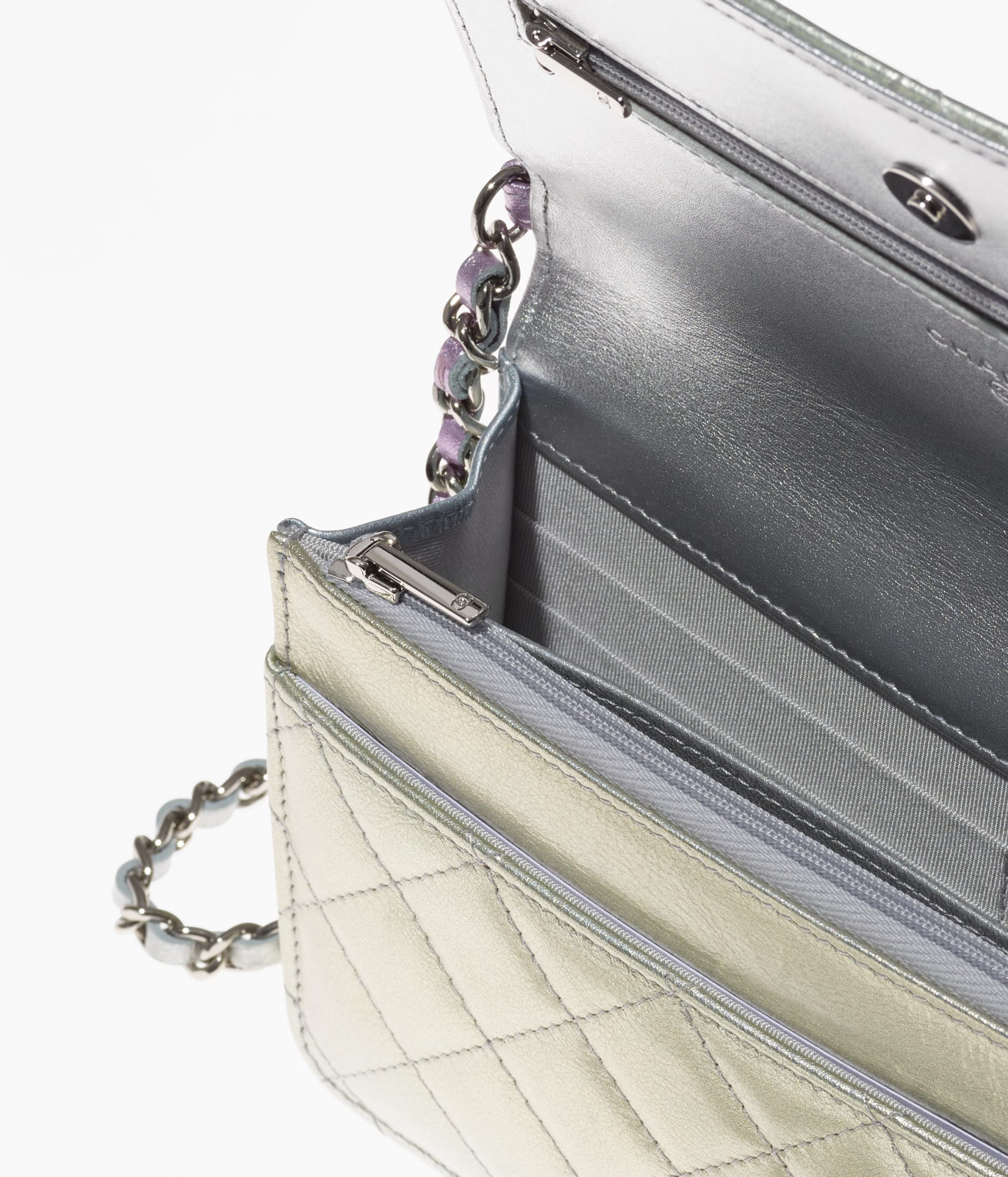 image 2 - Classic Wallet on Chain - Gradient Metallic Calfskin & Gradient Lacquered Metal - Silver, Blue, Yellow and Purple