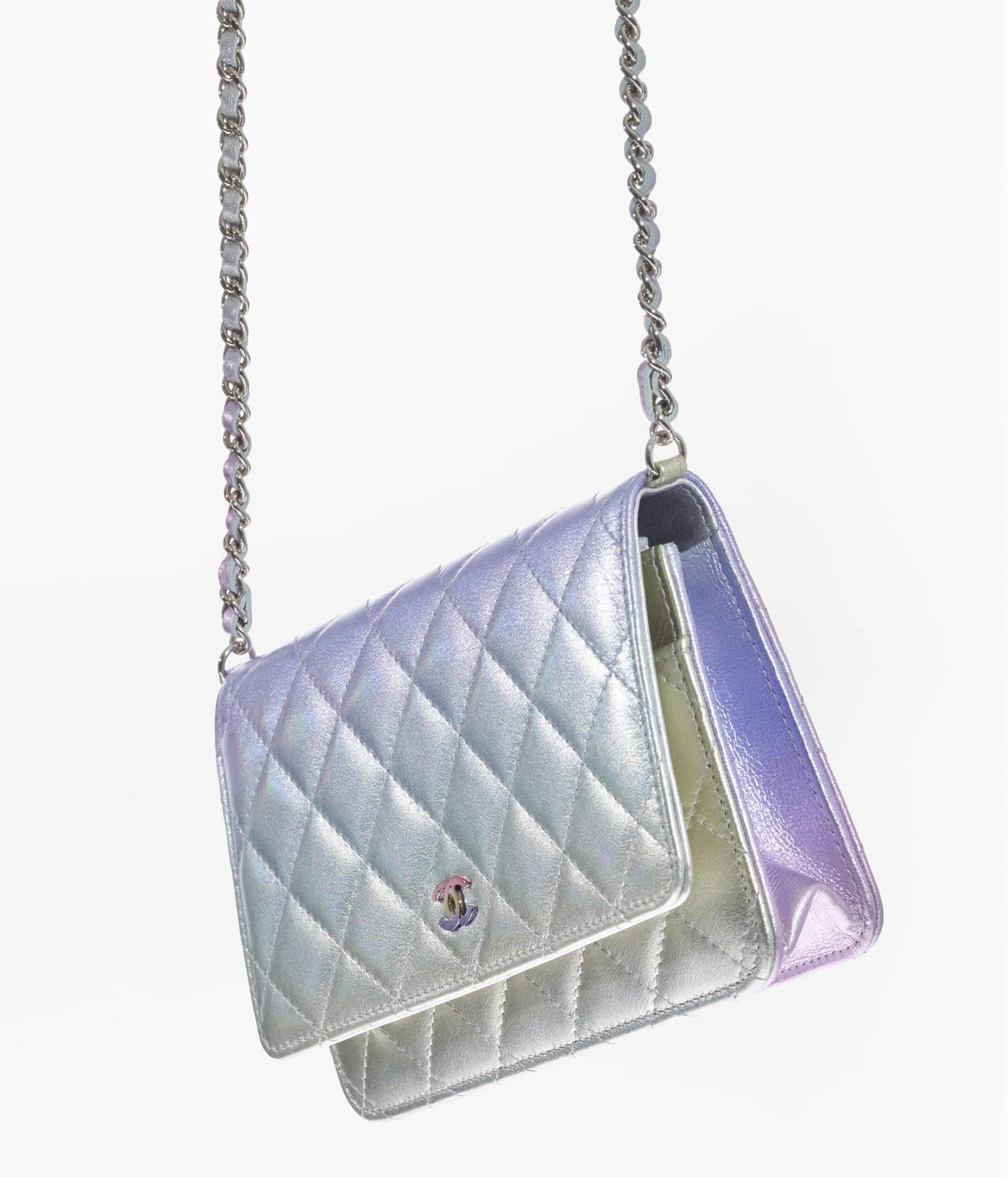 image 3 - Classic Wallet on Chain - Gradient Metallic Calfskin & Gradient Lacquered Metal - Silver, Blue, Yellow and Purple
