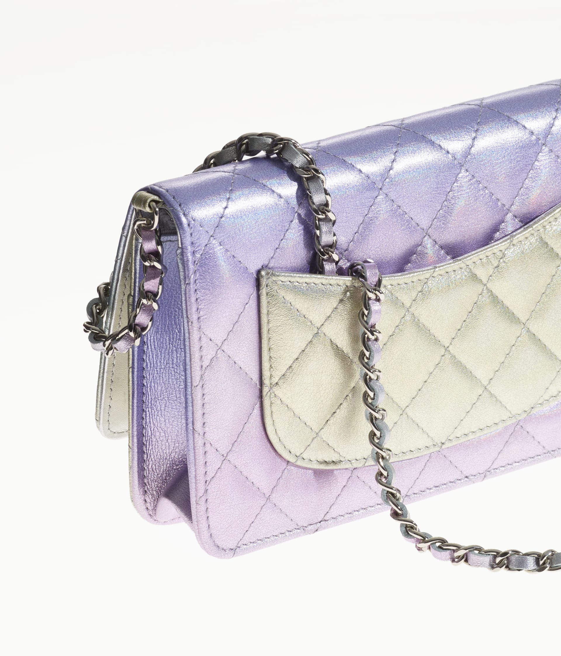 image 4 - Classic Wallet on Chain - Gradient Metallic Calfskin & Gradient Lacquered Metal - Silver, Blue, Yellow and Purple