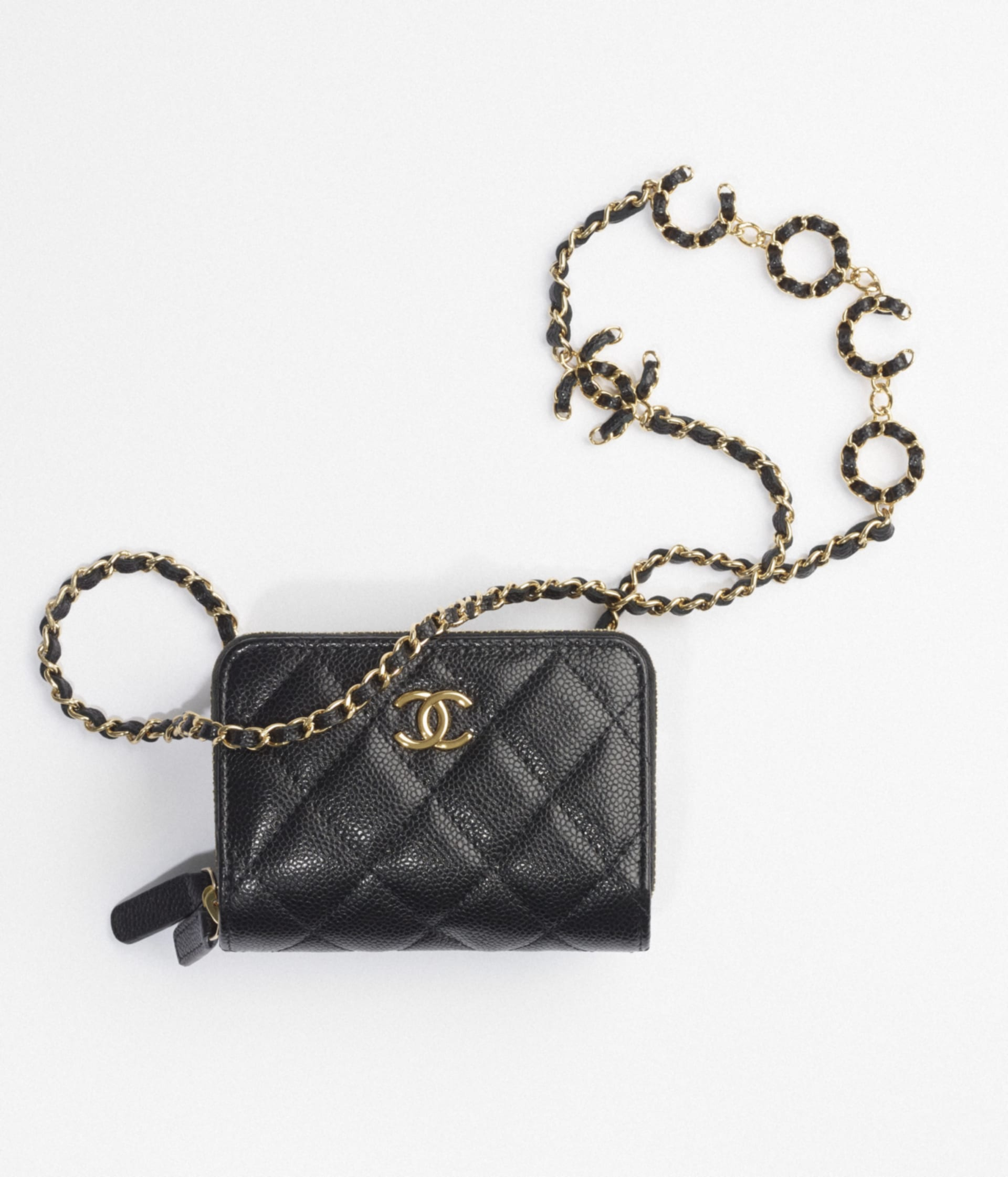 image 1 - Clutch with Chain - Grained Calfskin & Gold-Tone Metal - Black