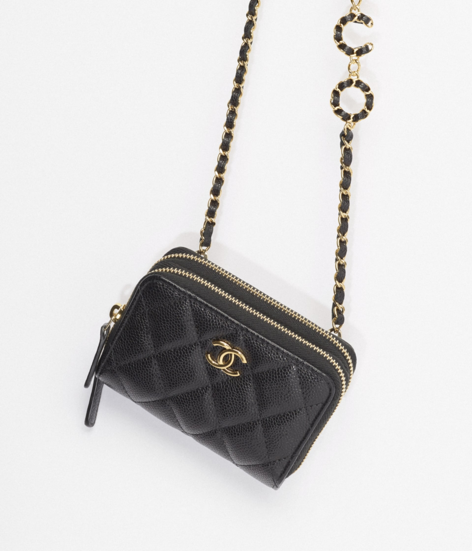 image 3 - Clutch with Chain - Grained Calfskin & Gold-Tone Metal - Black