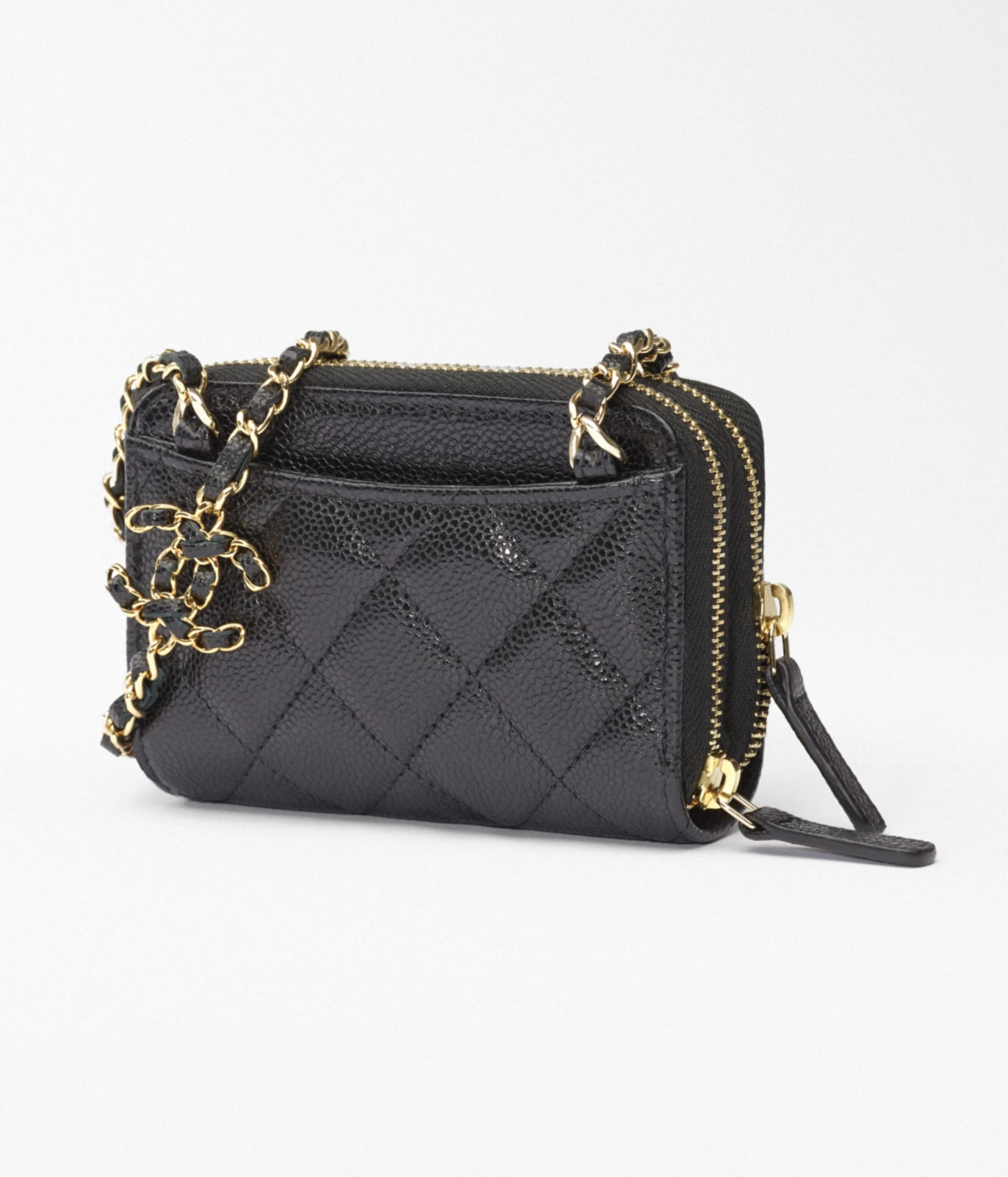 image 4 - Clutch with Chain - Grained Calfskin & Gold-Tone Metal - Black