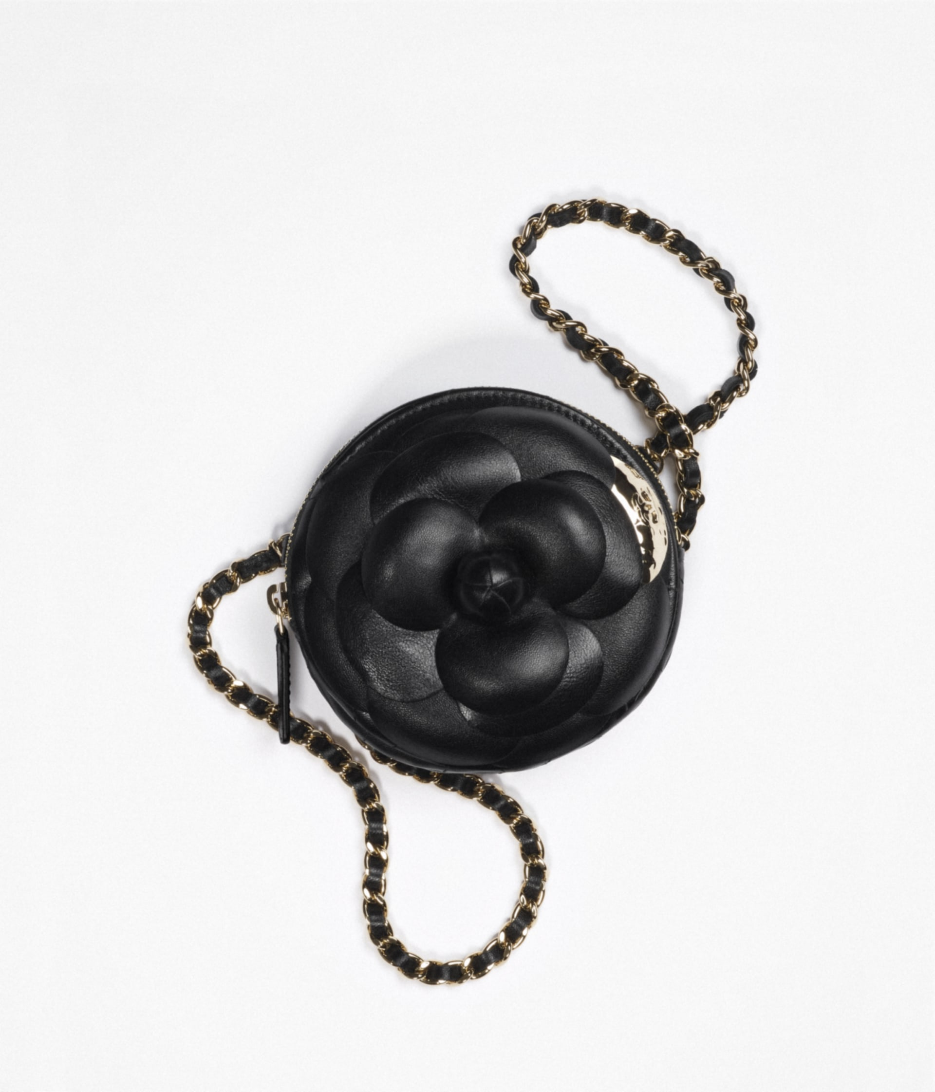 image 1 - Clutch with Chain - Lambskin & Gold Metal  - Black