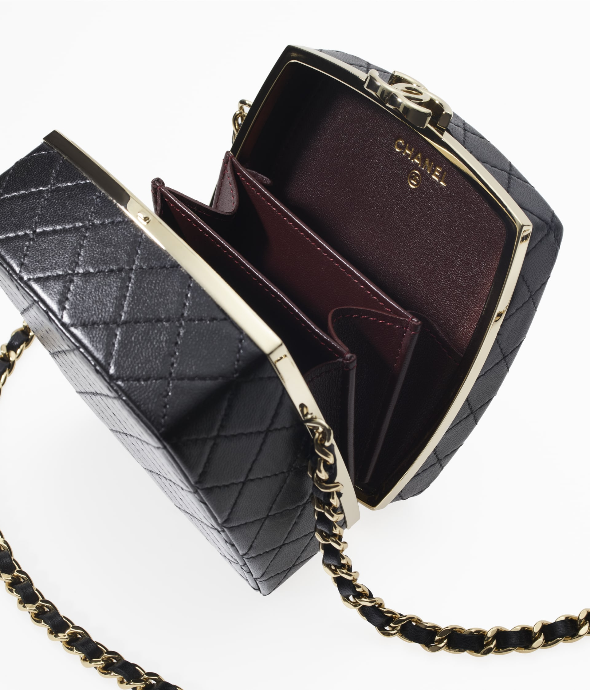 image 2 - Clutch with Chain - Lambskin & Gold-Tone Metal - Black
