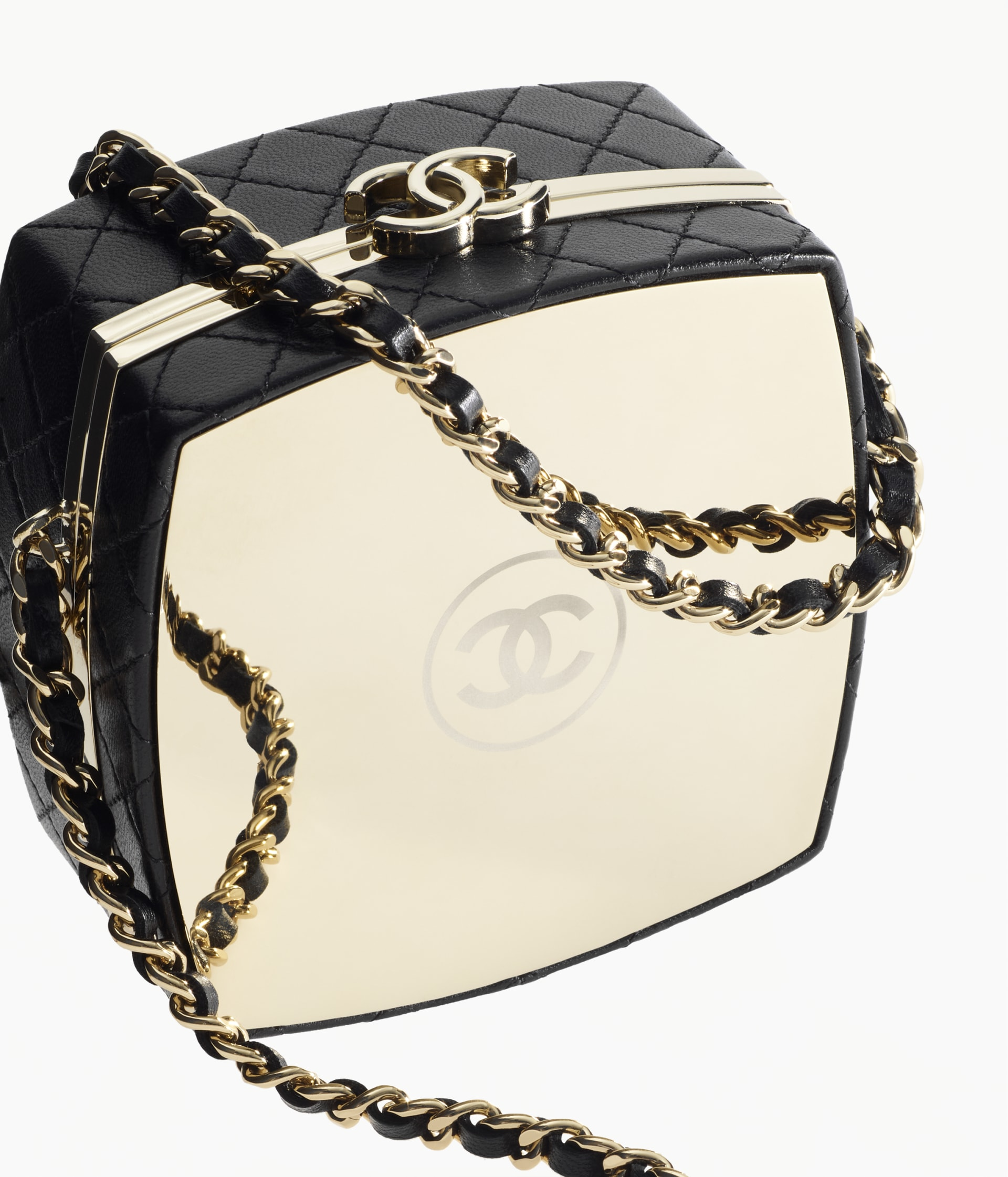 image 3 - Clutch with Chain - Lambskin & Gold-Tone Metal - Black