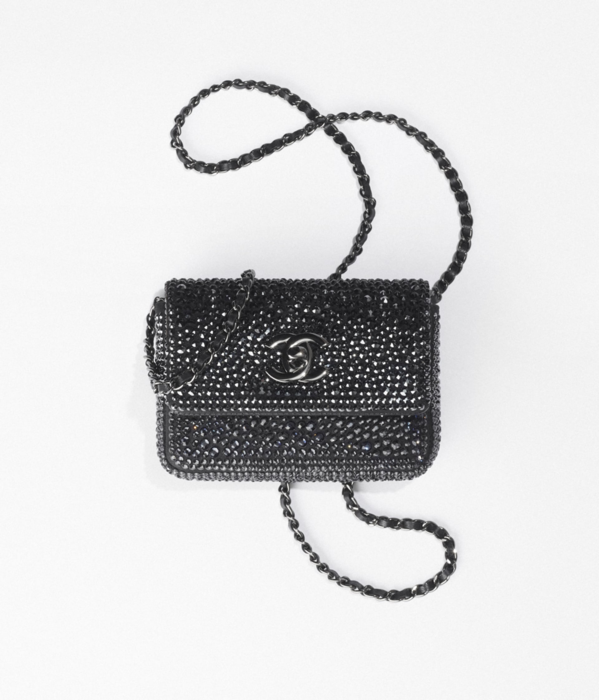 image 1 - Clutch with Chain - Strass, Lambskin & Ruthenium-Finish Metal - Black
