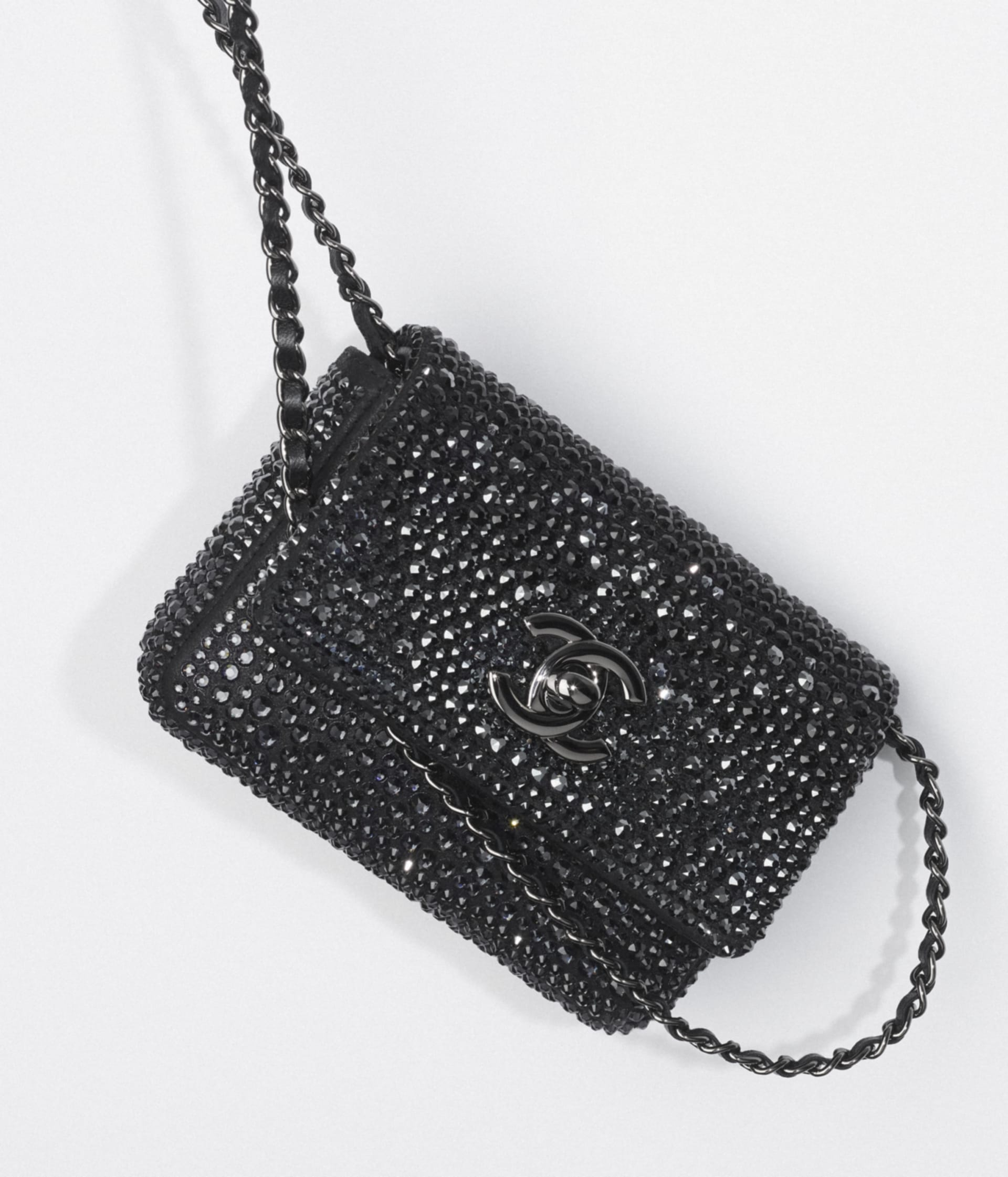 image 3 - Clutch with Chain - Strass, Lambskin & Ruthenium-Finish Metal - Black