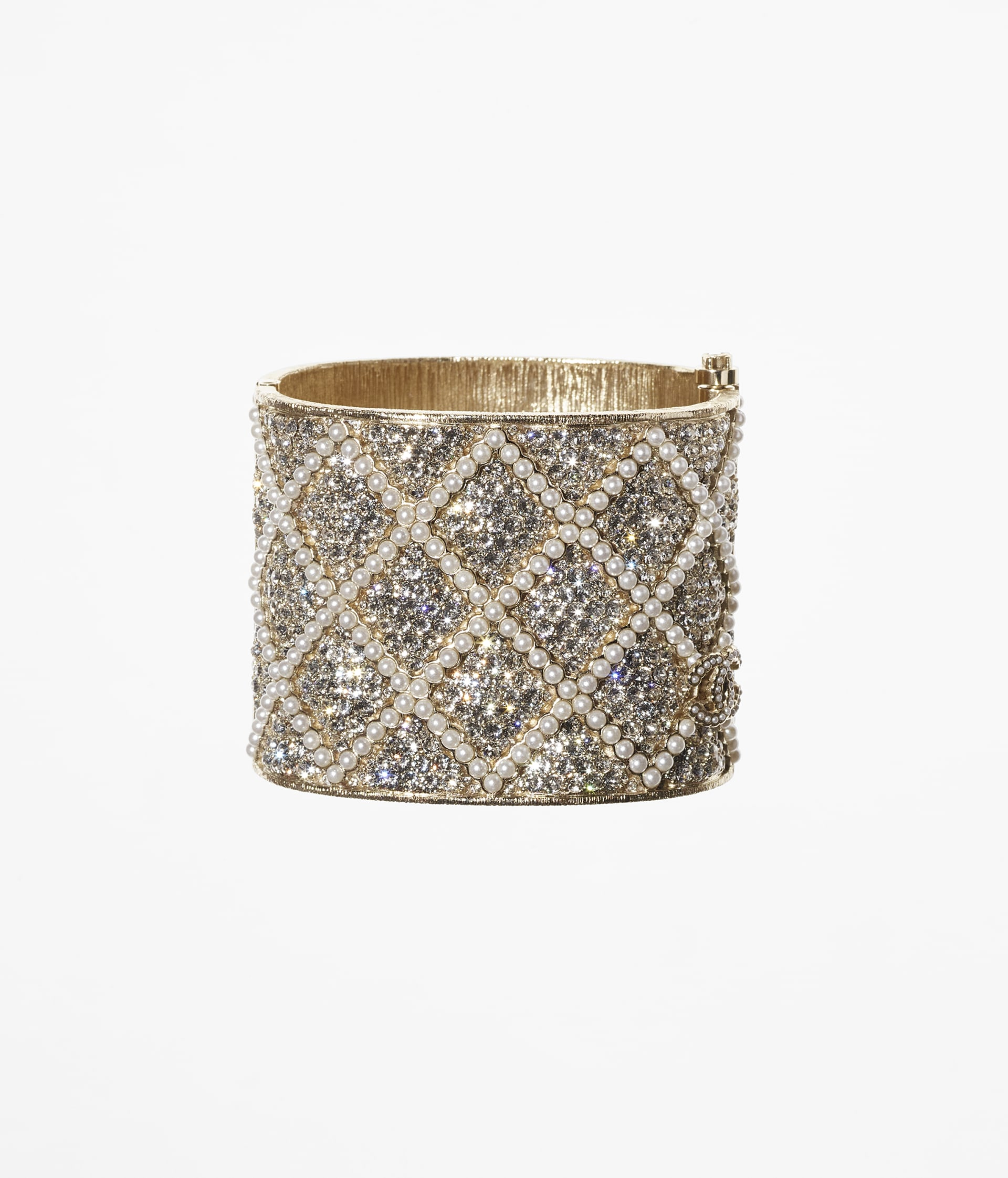 image 1 - Cuff - Metal, Strass & Glass Pearls - Gold, Crystal & Pearly White
