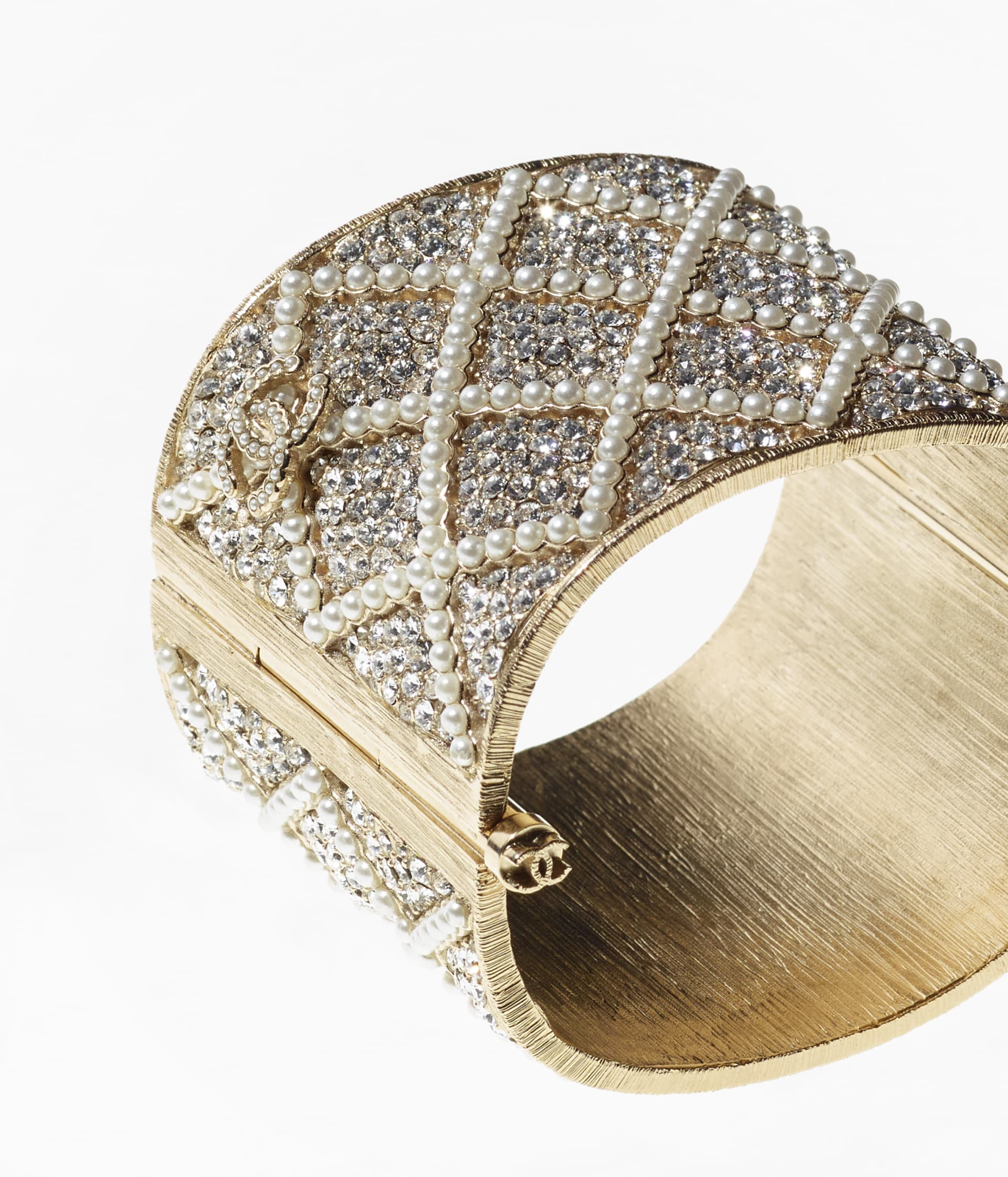 image 2 - Cuff - Metal, Strass & Glass Pearls - Gold, Crystal & Pearly White
