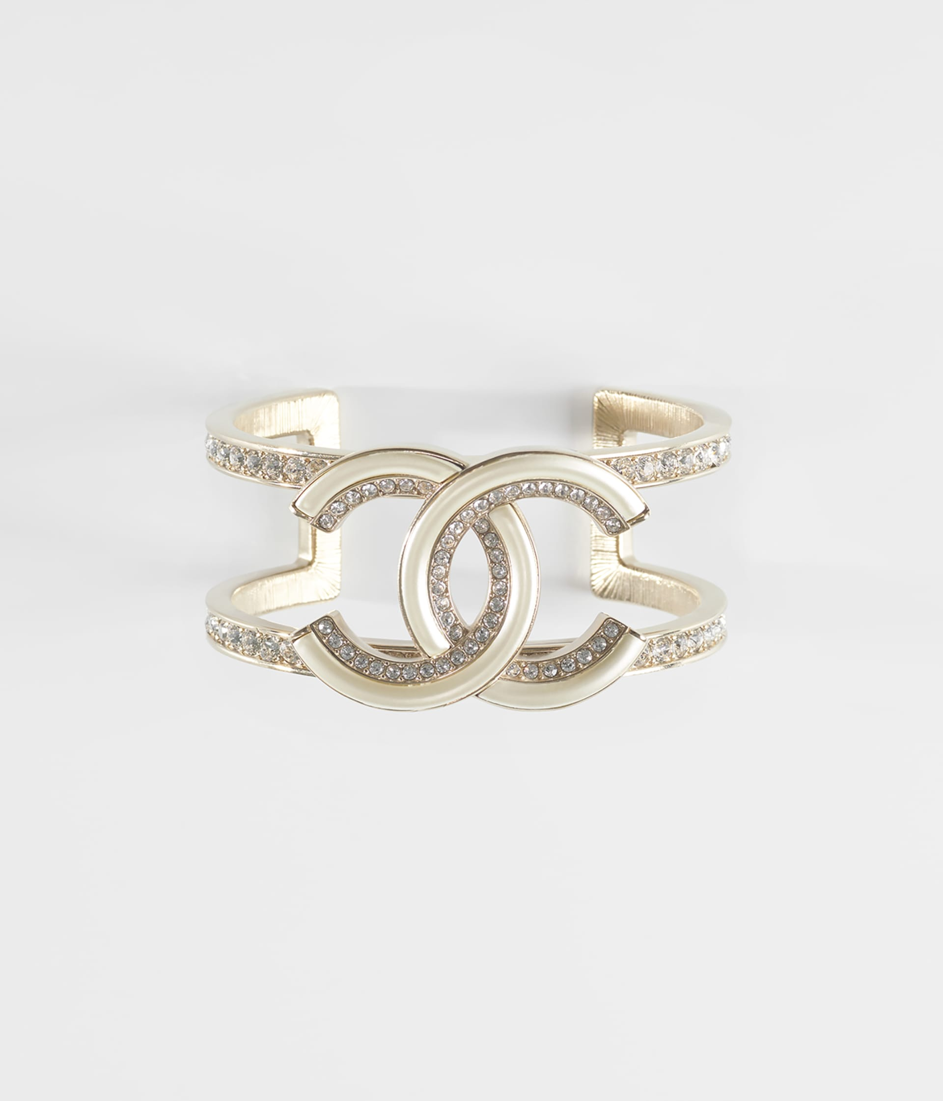 image 1 - Cuff - Metal & Strass - Gold, Crystal & Pearly White