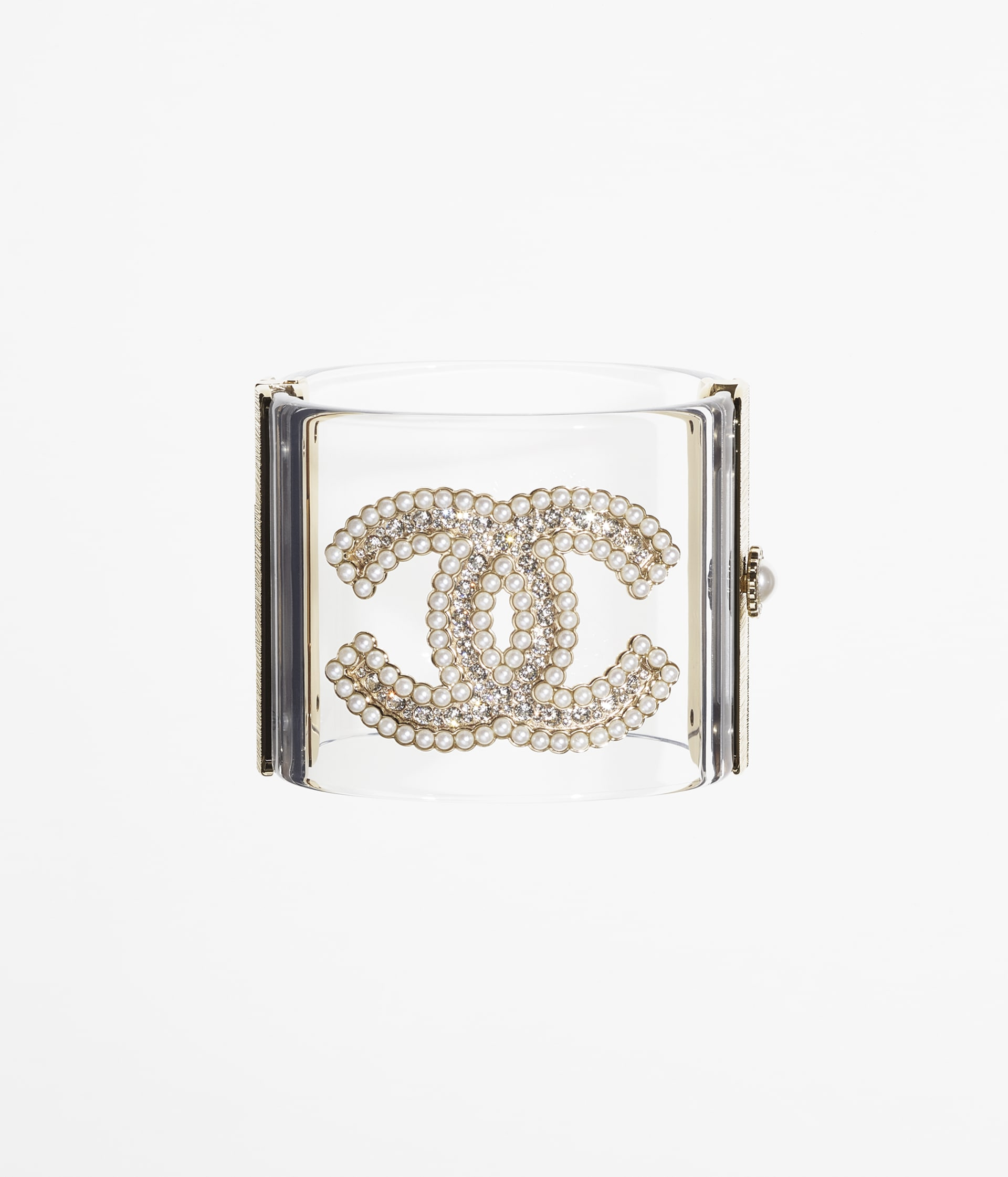 image 1 - Cuff - Resin, Strass, Glass Pearls & Metal - Gold, Transparent, Crystal & Pearly White