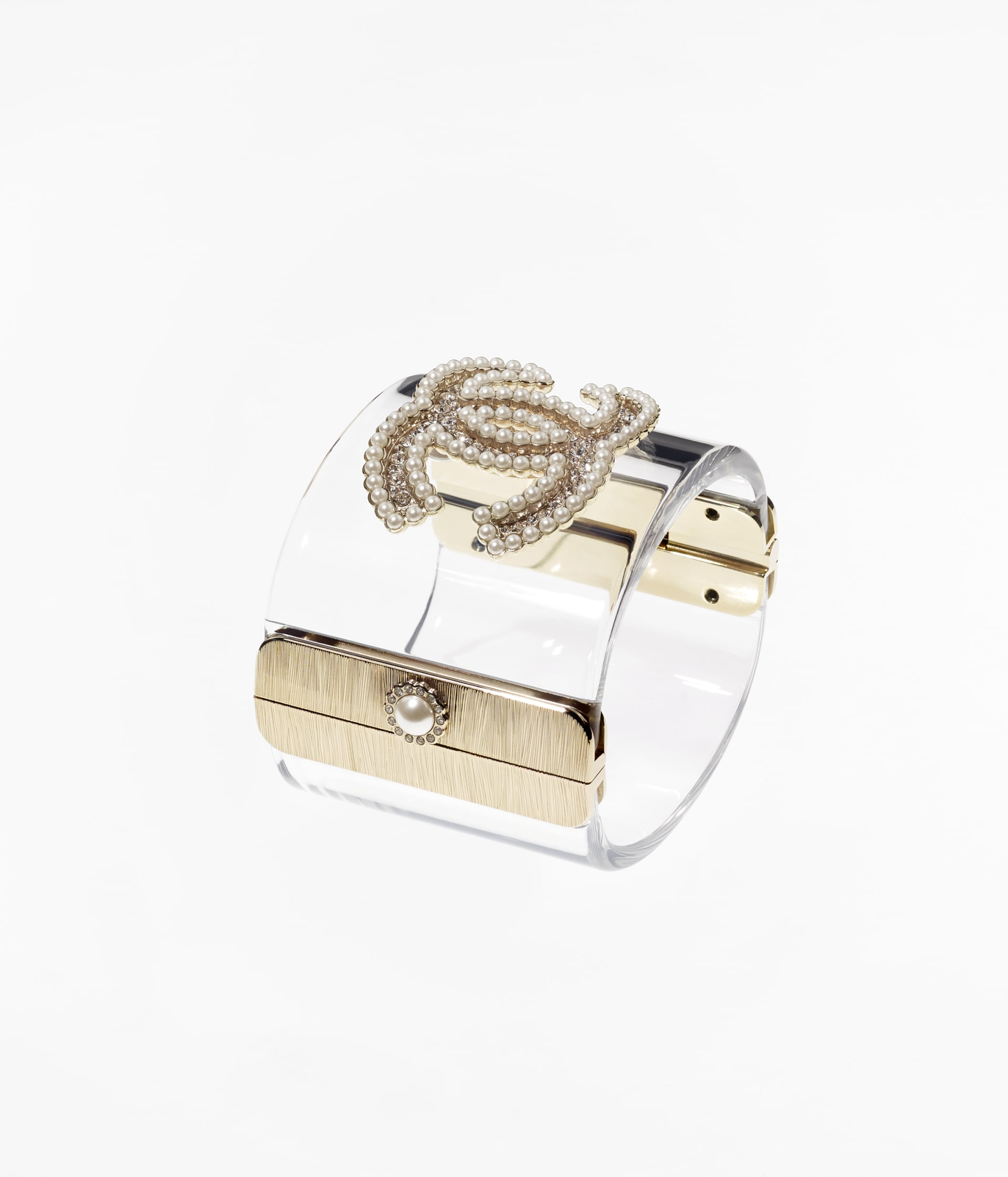 image 2 - Cuff - Resin, Strass, Glass Pearls & Metal - Gold, Transparent, Crystal & Pearly White