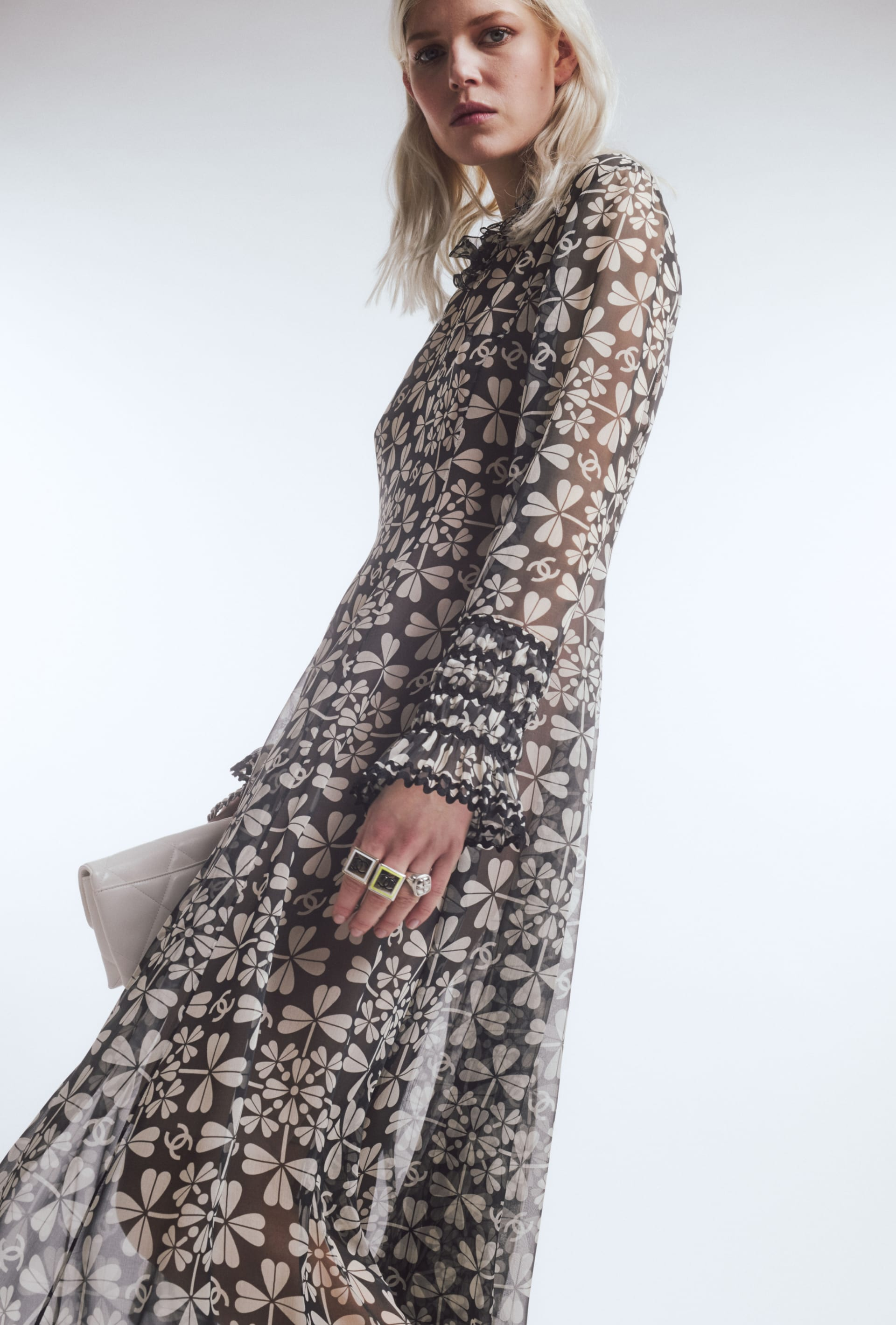 image 2 - Dress - Embroidered Silk Muslin - White & Charcoal