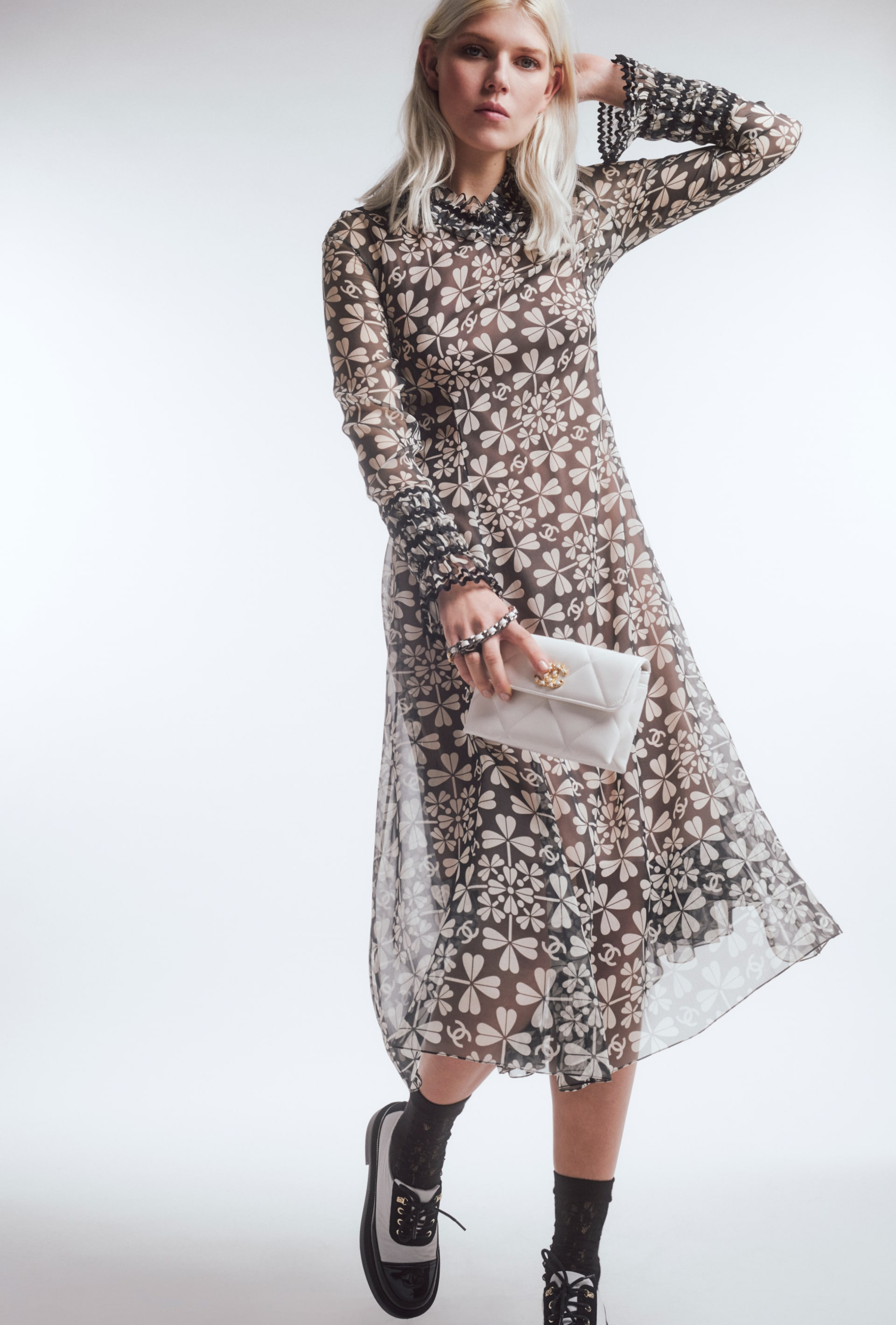 image 1 - Dress - Embroidered Silk Muslin - White & Charcoal