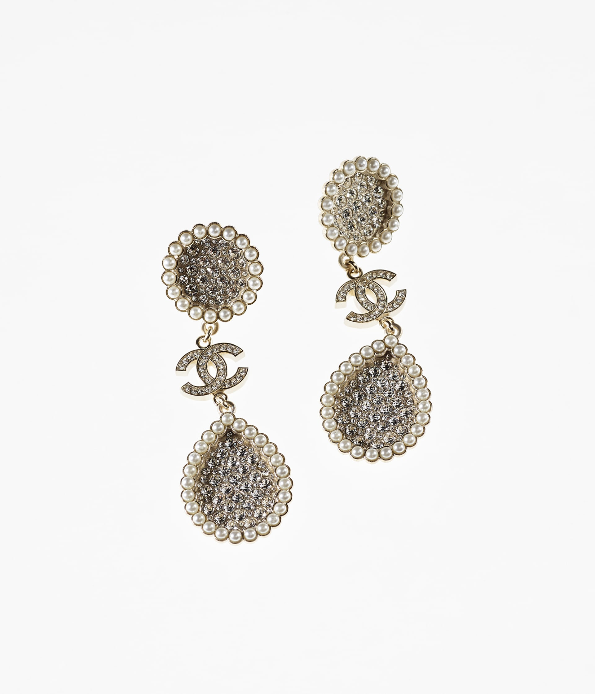 image 1 - Earrings - Metal, Strass & Glass Pearls - Gold, Crystal & Pearly White