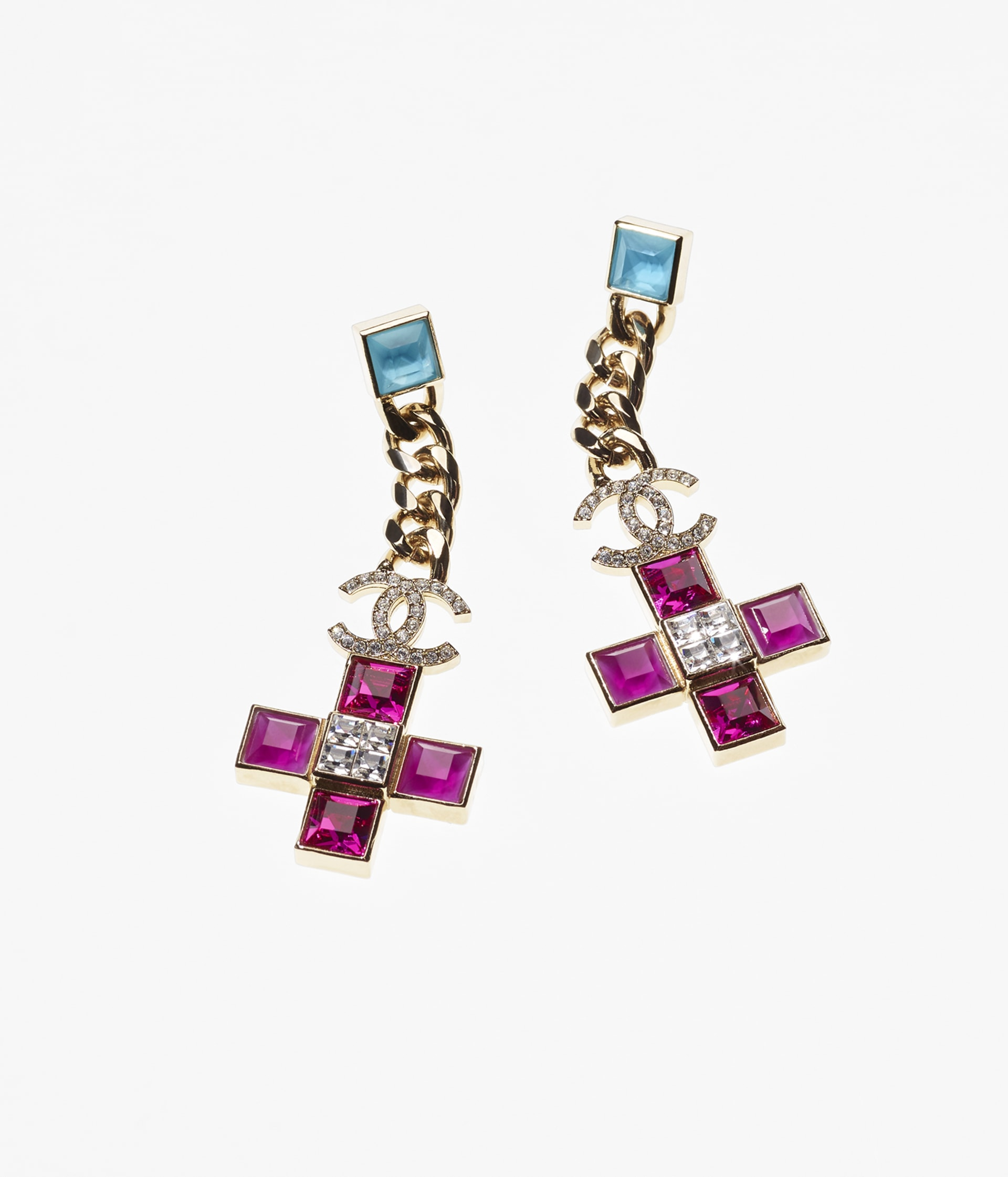 image 1 - Earrings - Metal & Strass - Gold, Fuchsia, Blue & Crystal