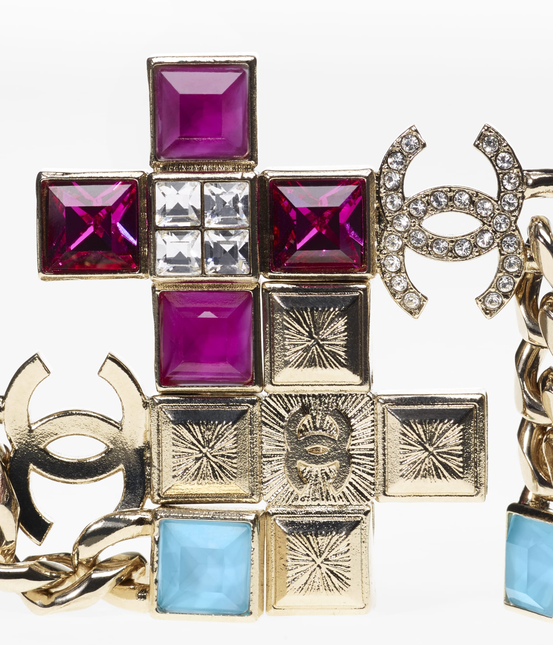 image 2 - Earrings - Metal & Strass - Gold, Fuchsia, Blue & Crystal