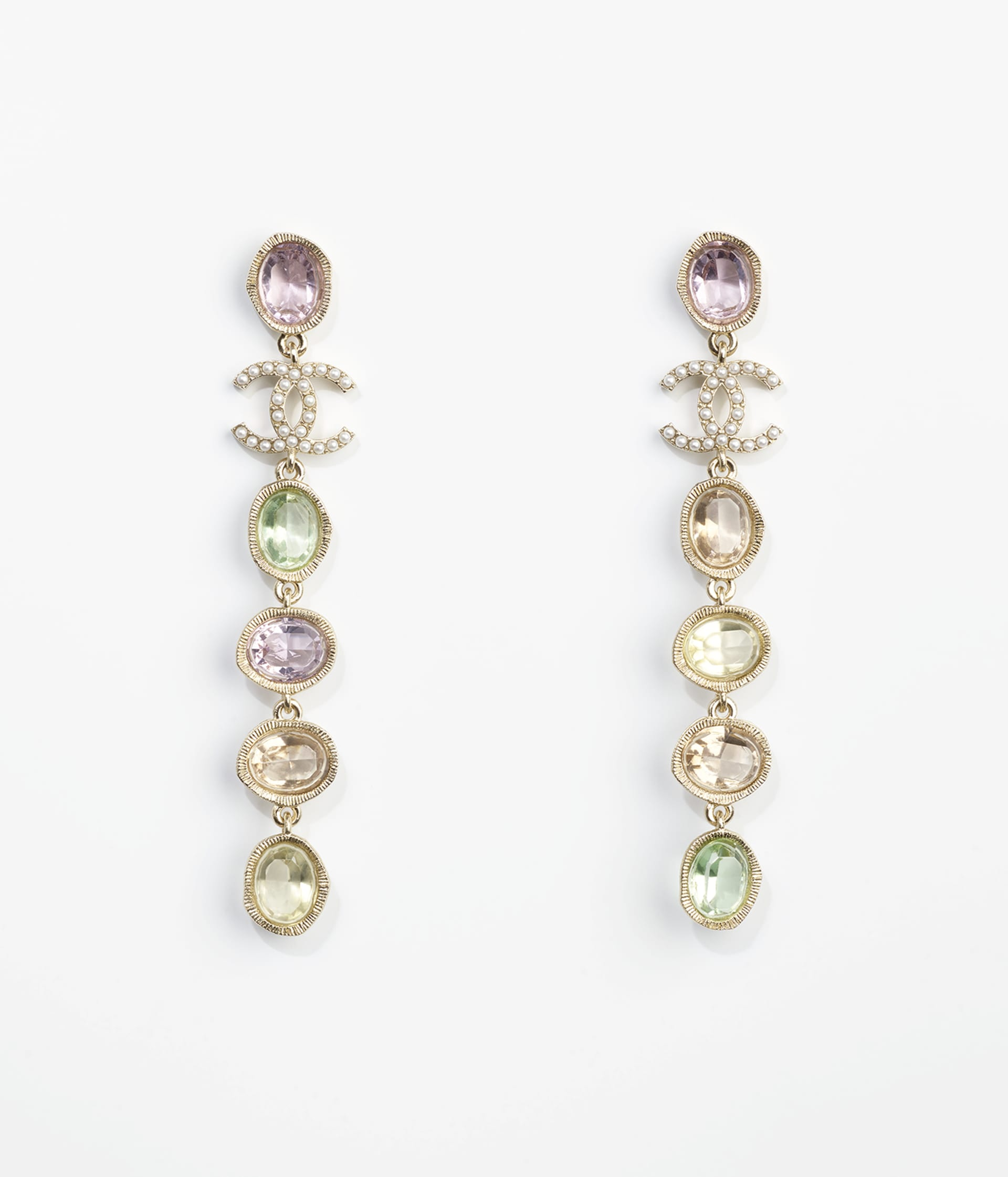 image 1 - Earrings - Metal, Glass Pearls & Strass - Gold, Multicolor & Pearly White