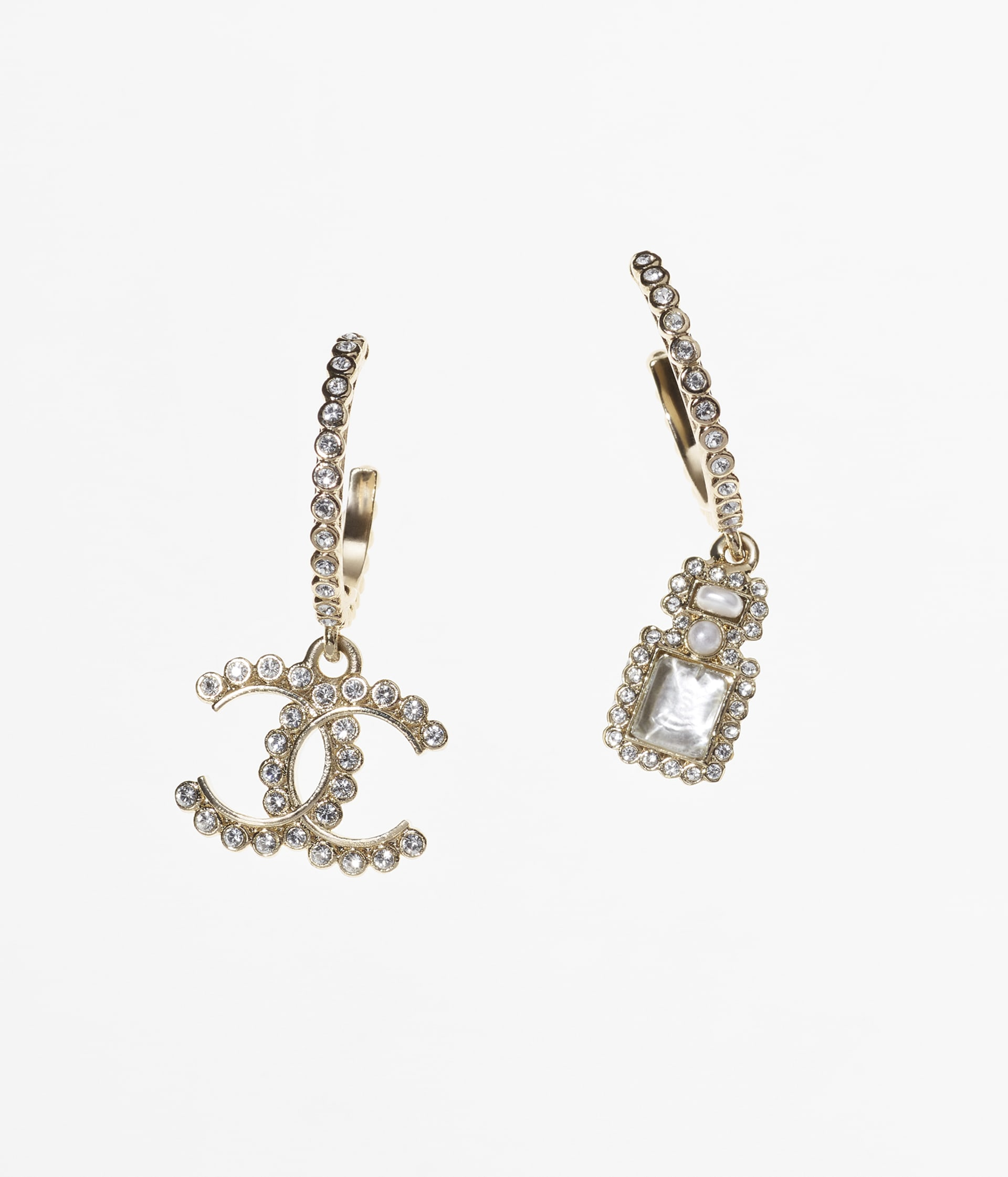 image 1 - Earrings - Metal, Resin, Glass Pearls, Glass & Strass - Gold, Pearly White & Crystal
