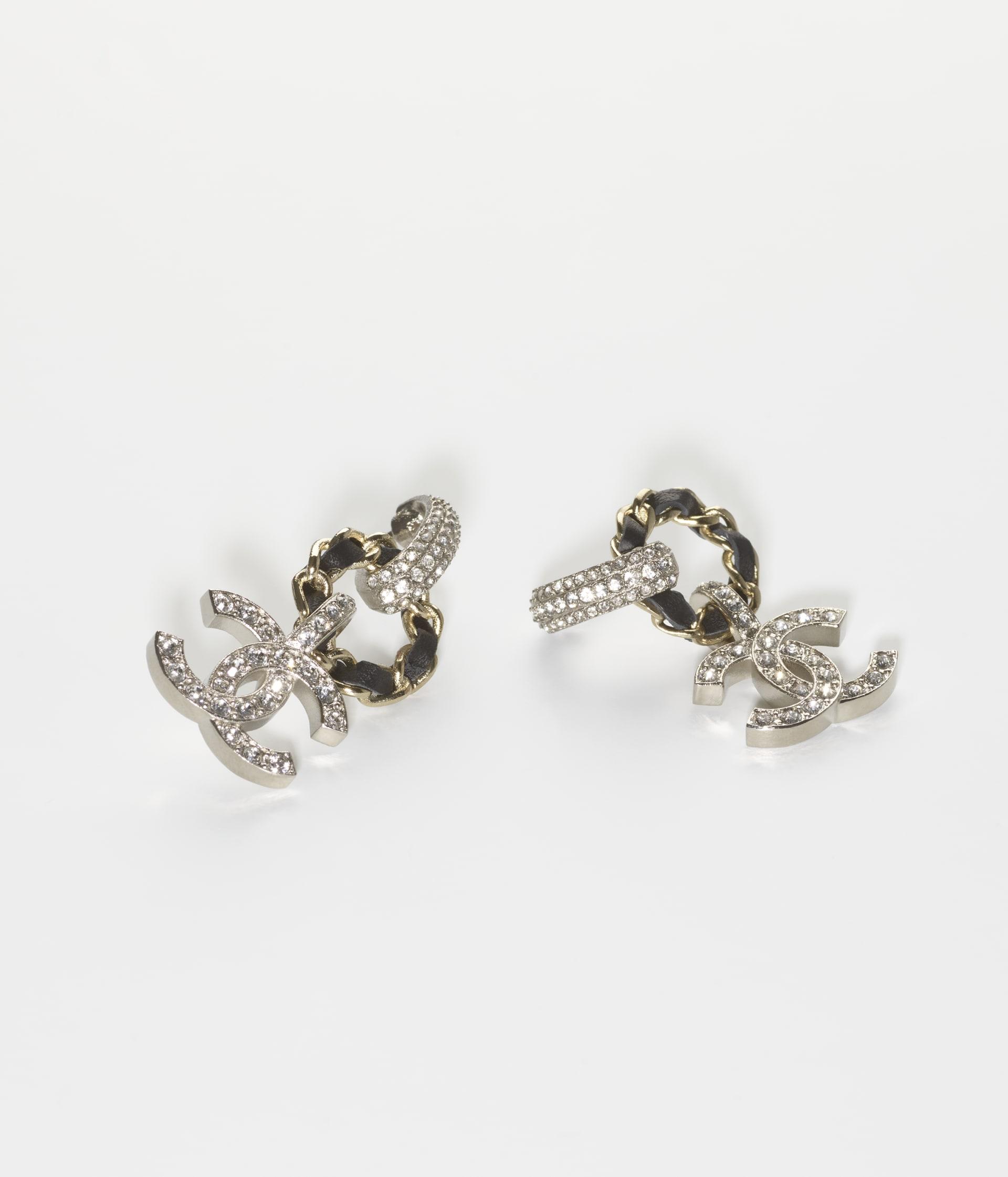 image 2 - Earrings - Metal, Calfskin & Strass - Gold, Silver, Black & Crystal