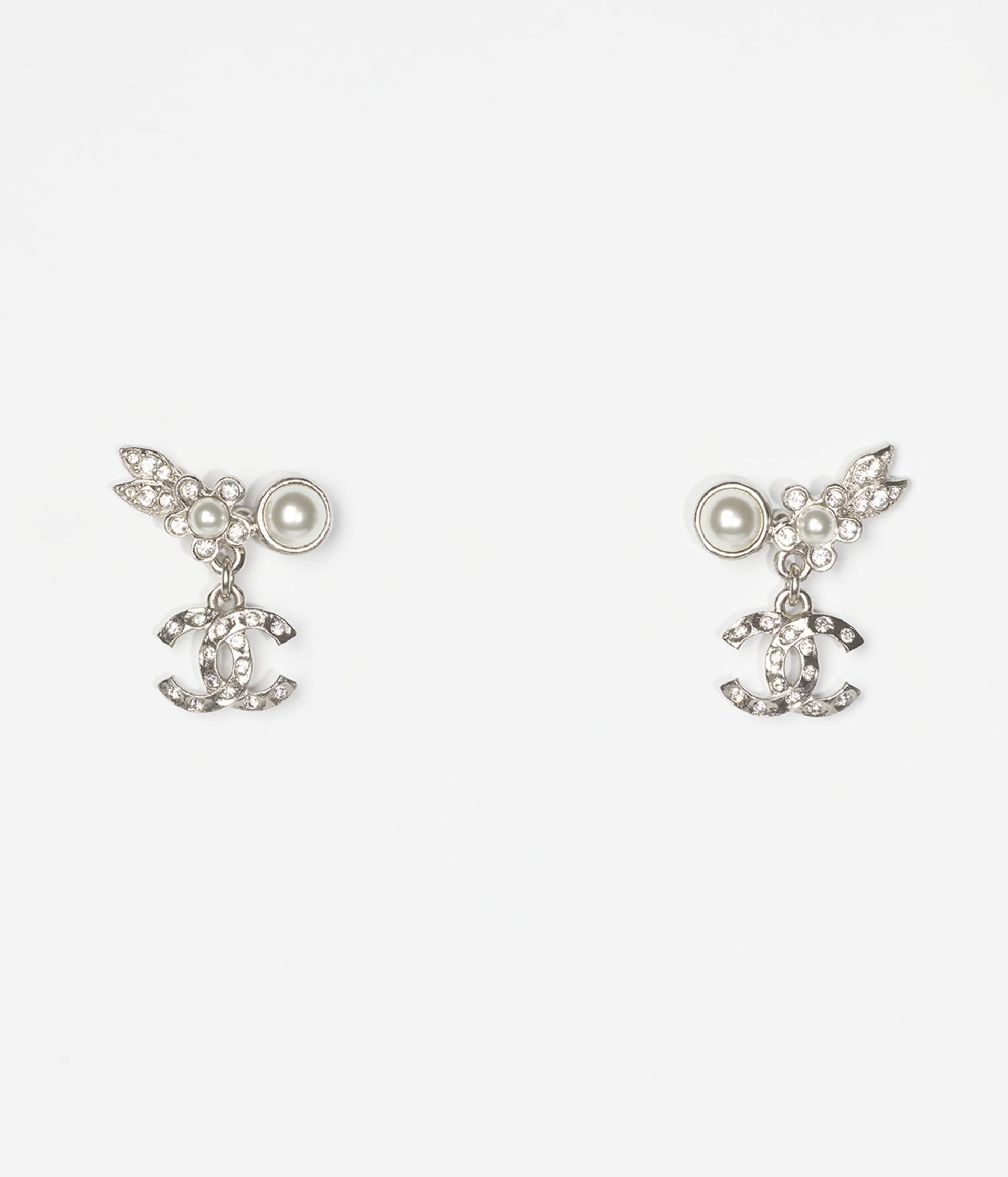 image 1 - Earrings - Metal, Glass Pearls & Strass - Silver, Pearly White & Crystal