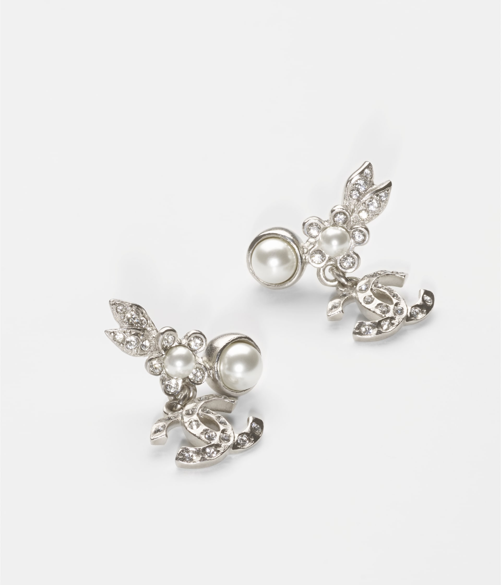 image 2 - Earrings - Metal, Glass Pearls & Strass - Silver, Pearly White & Crystal