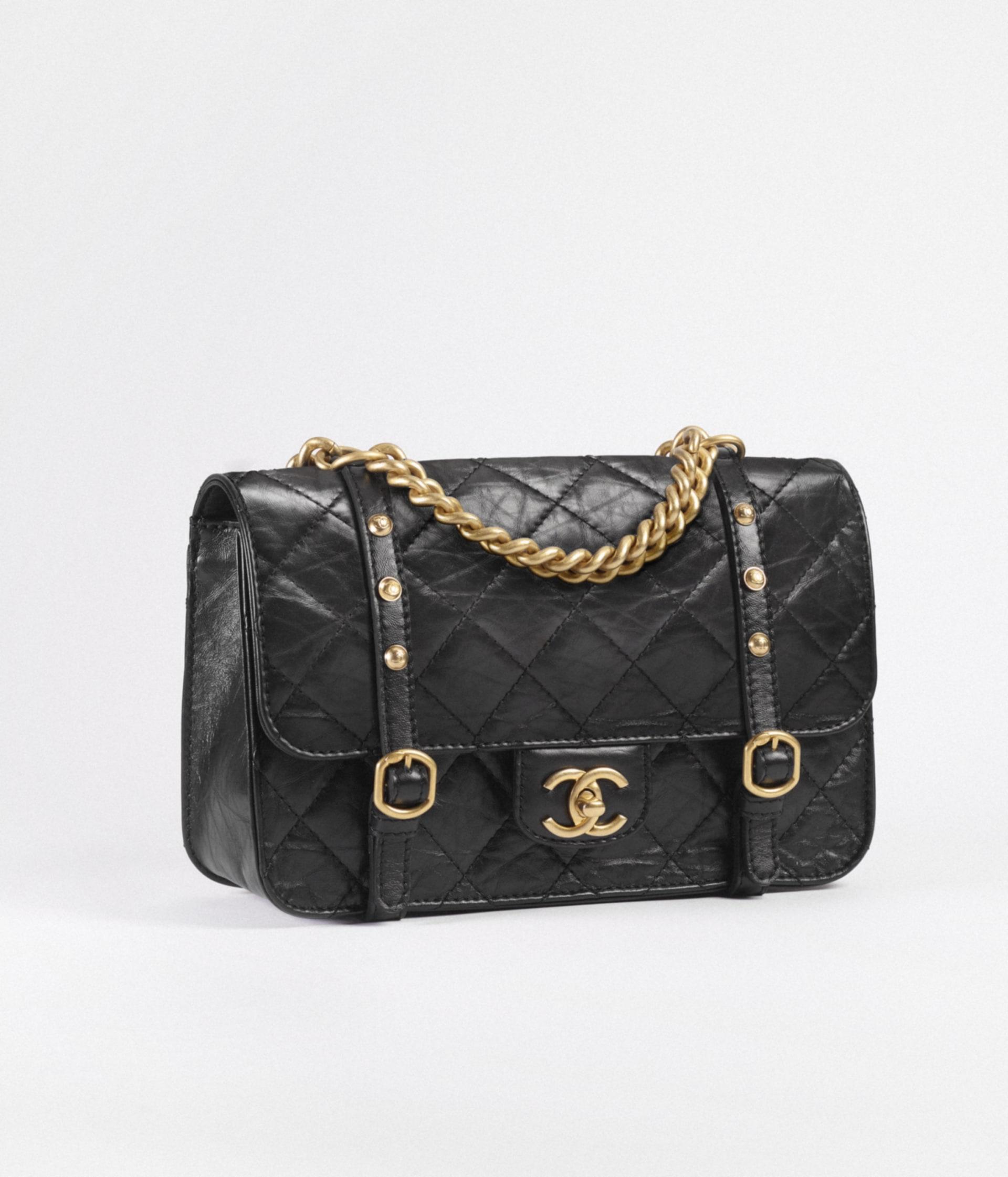 image 2 - Flap Bag - Aged Calfskin & Gold-Tone Metal - Black