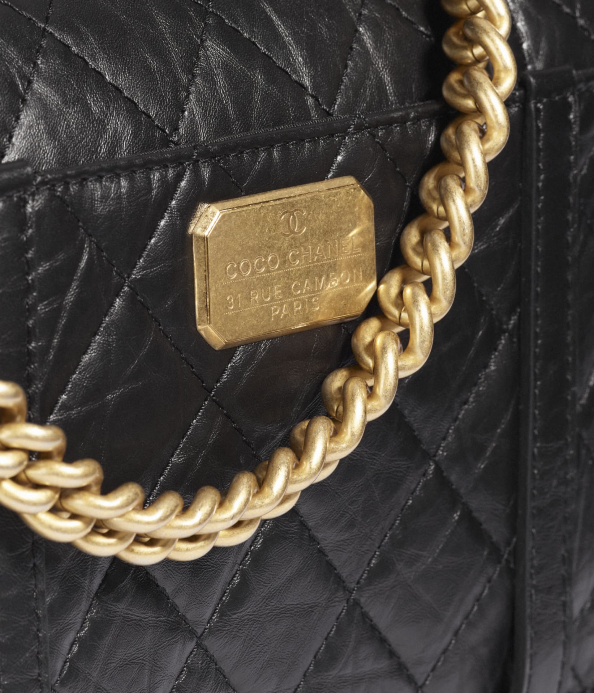 image 4 - Flap Bag - Aged Calfskin & Gold-Tone Metal - Black