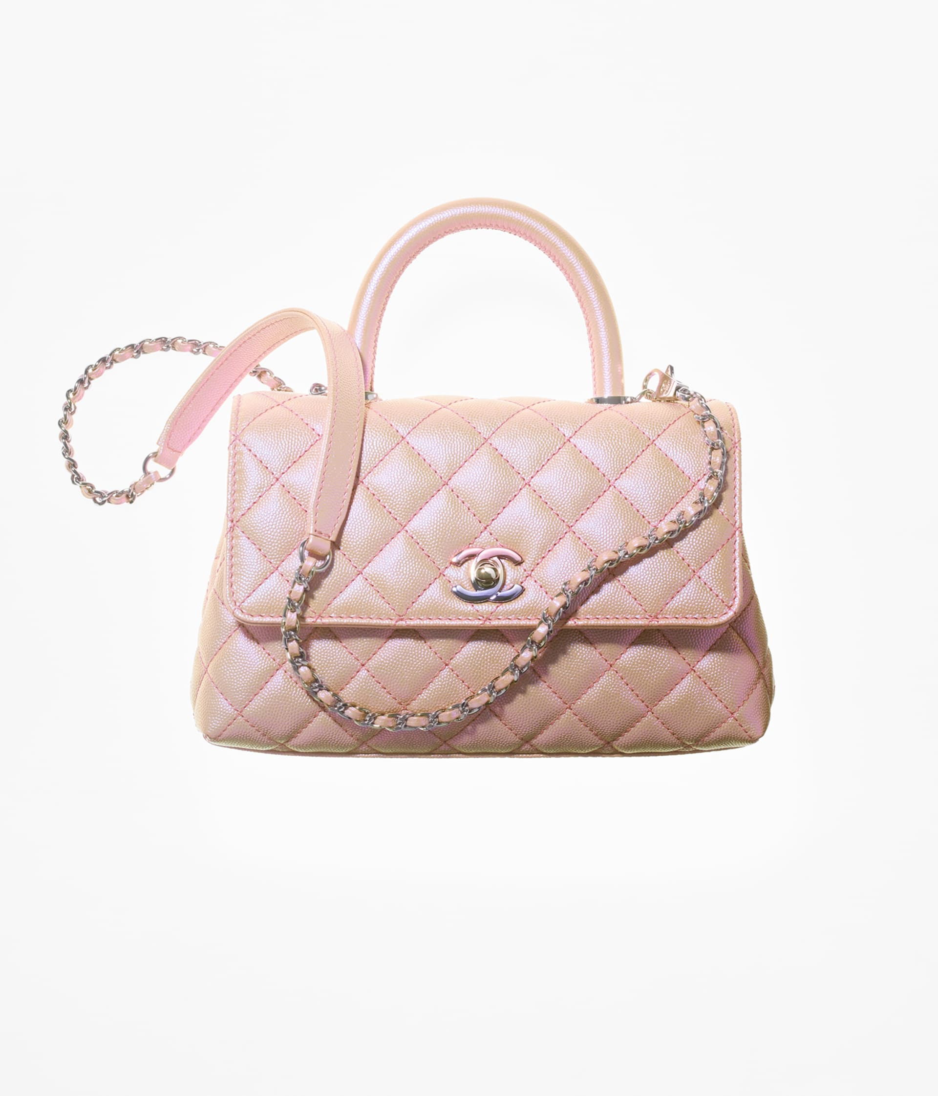 image 1 - Flap Bag with Top Handle - Iridescent Grained Calfskin & Gradient Lacquered Metal - Light Pink