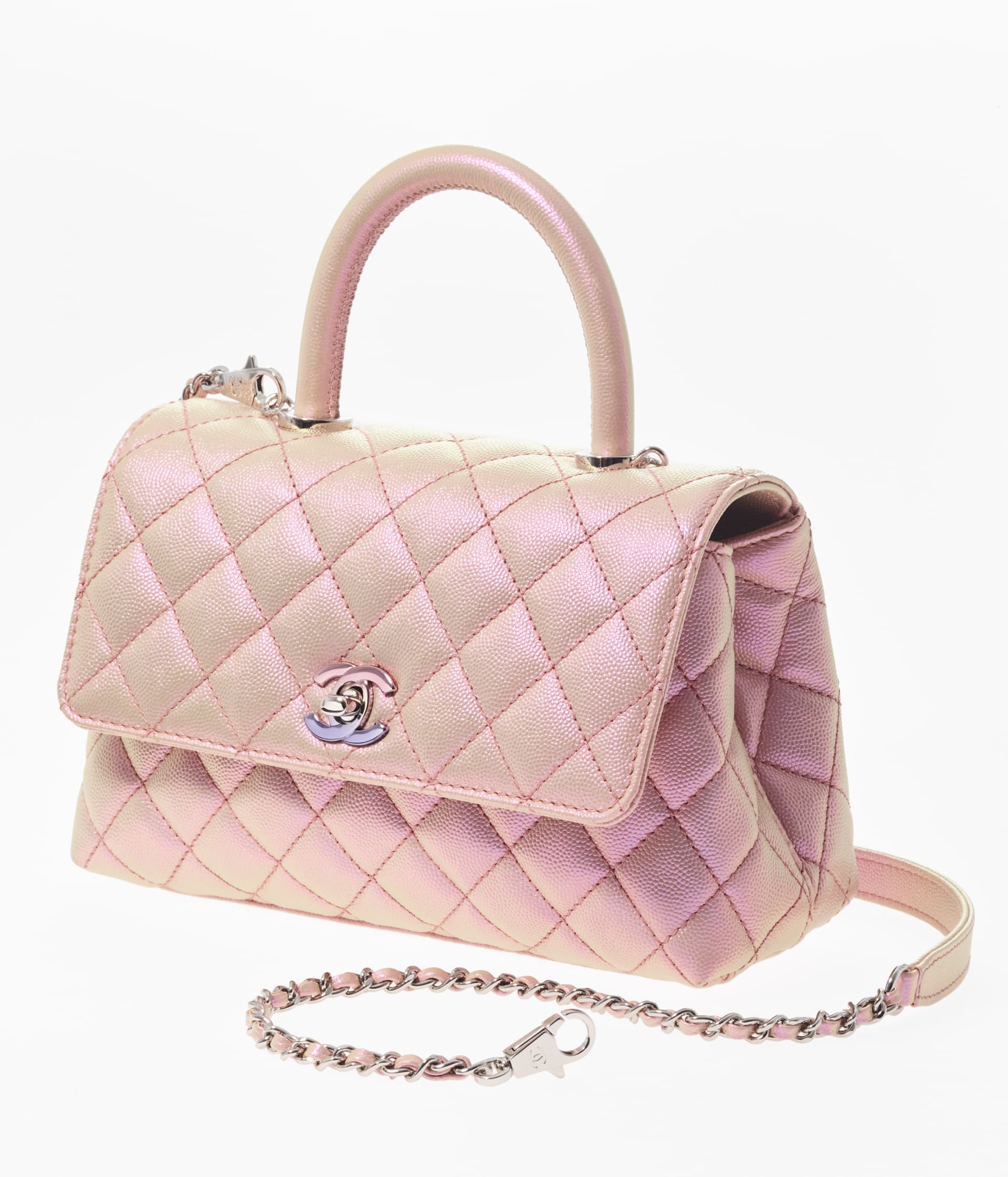 image 2 - Flap Bag with Top Handle - Iridescent Grained Calfskin & Gradient Lacquered Metal - Light Pink