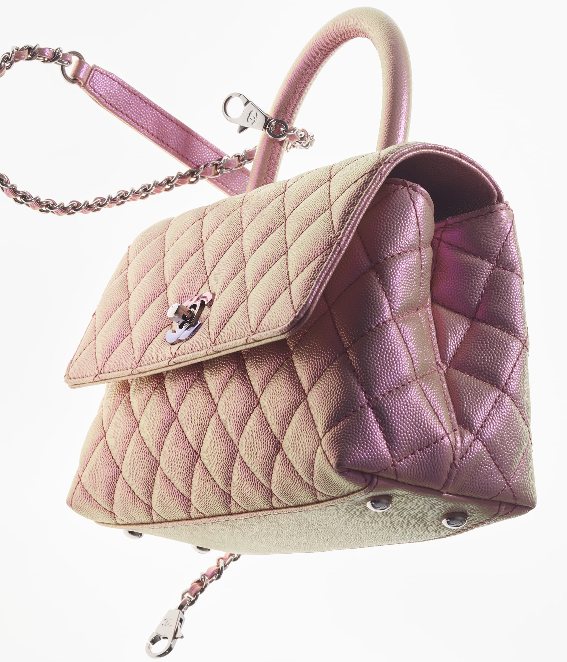 image 4 - Flap Bag with Top Handle - Iridescent Grained Calfskin & Gradient Lacquered Metal - Light Pink